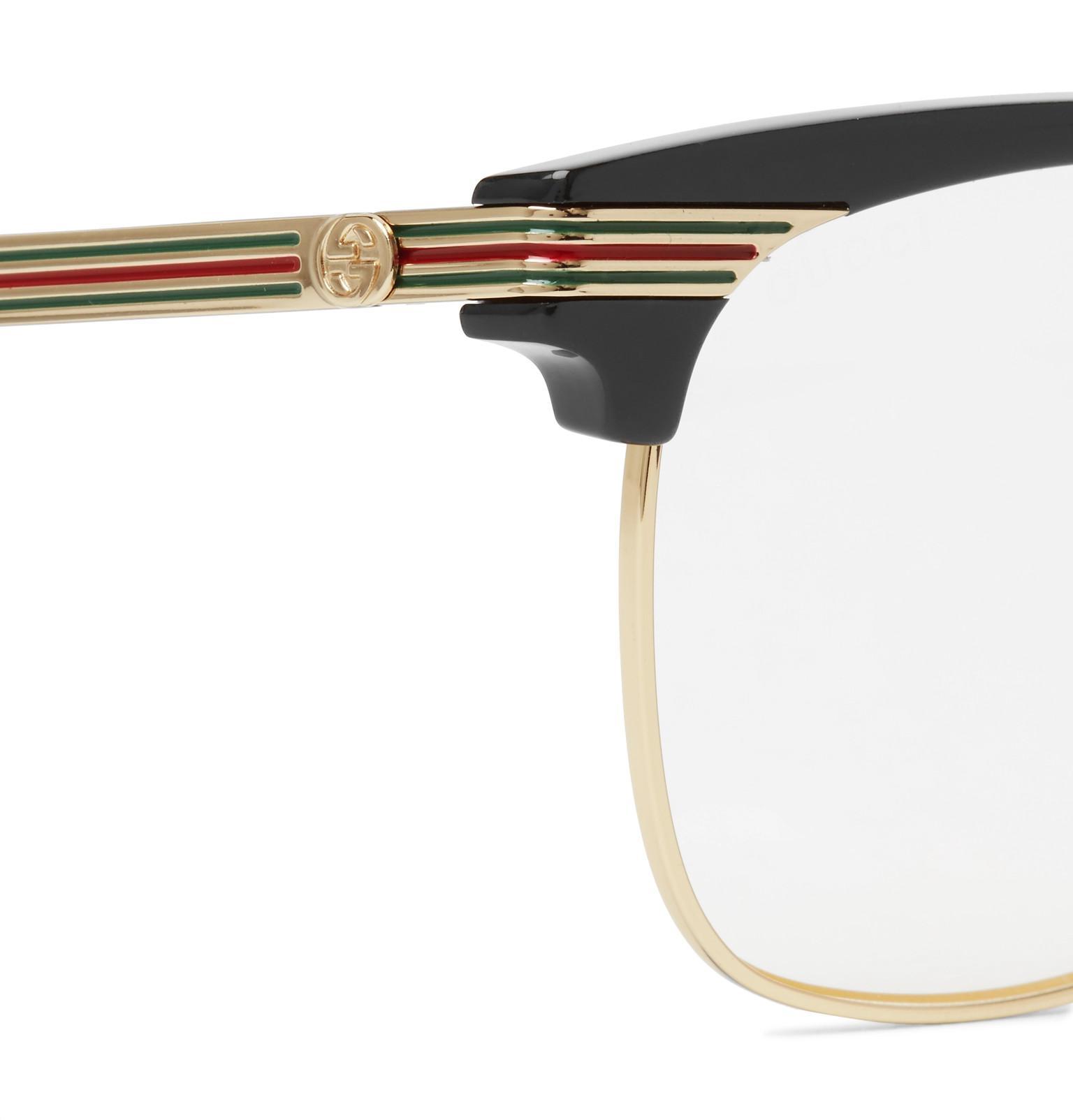 6c6ebf08ff39a Gucci Endura Square-frame Gold-tone And Acetate Optical Glasses in ...