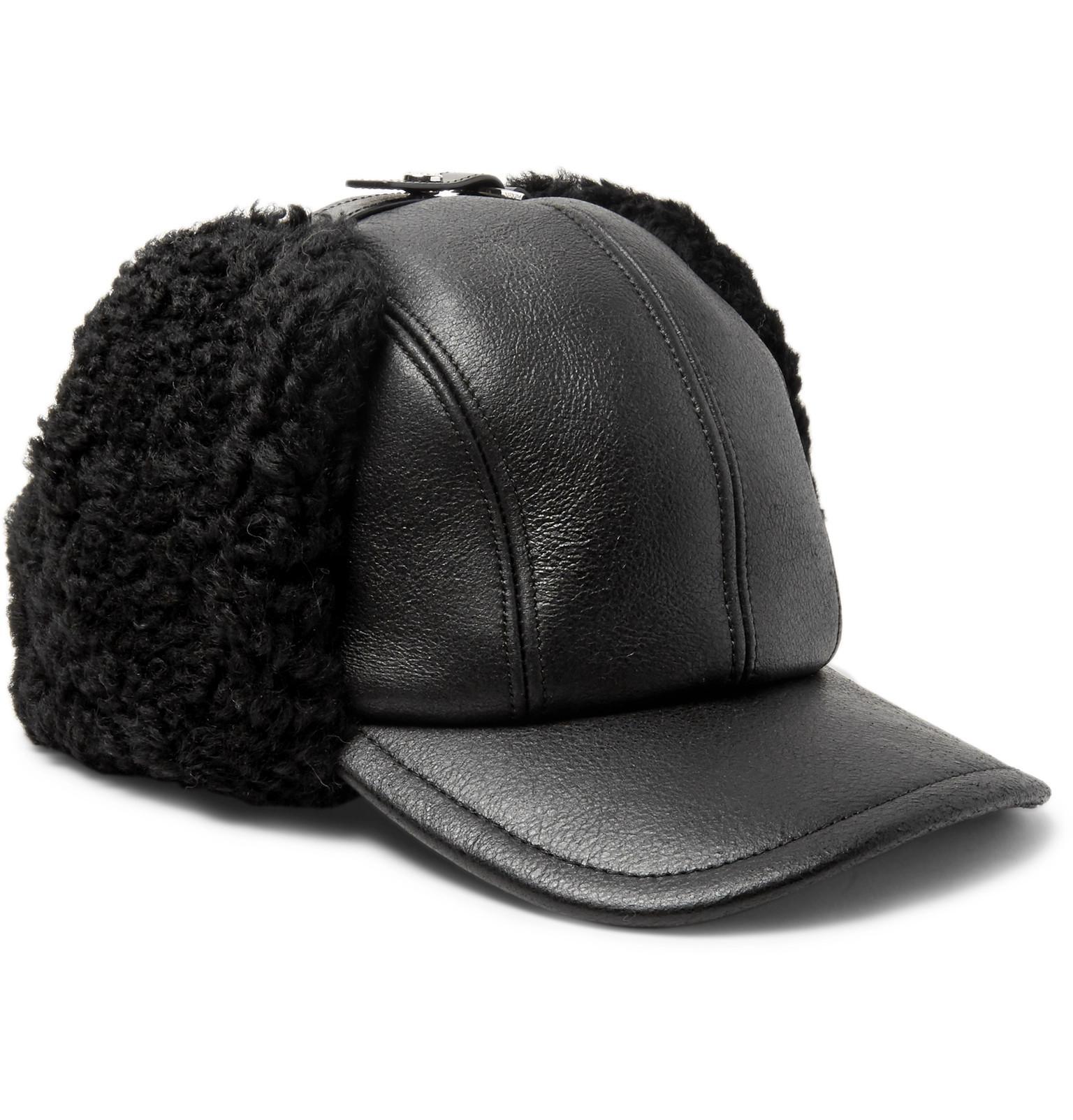 Lyst - Prada Shearling-trimmed Leather Cap in Black for Men af2fd0614e43