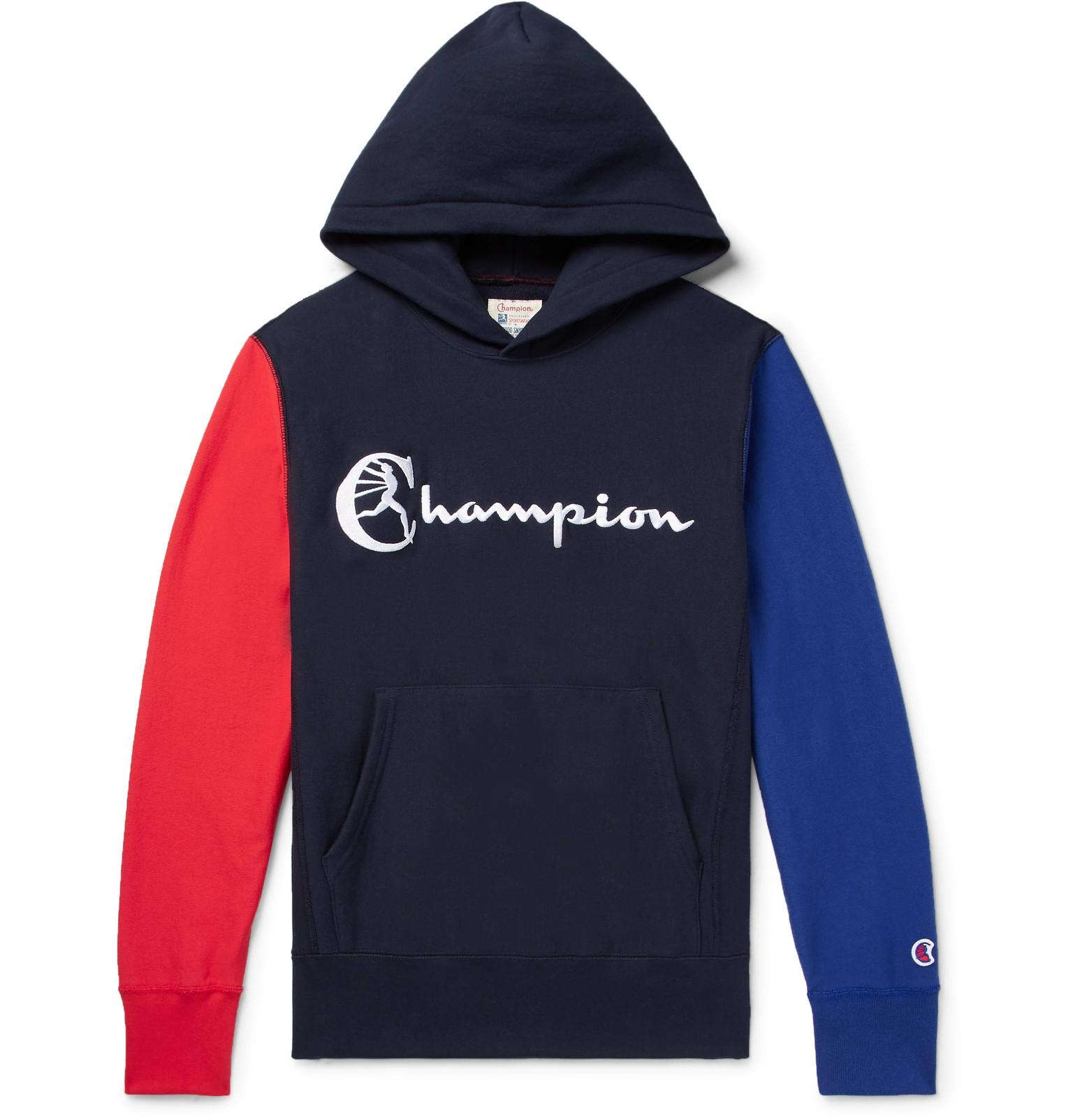 TODD SNYDER Colour-block Embroidered Loopback Cotton-jersey Sweatshirt - Midnight blue E5Gwyso8R