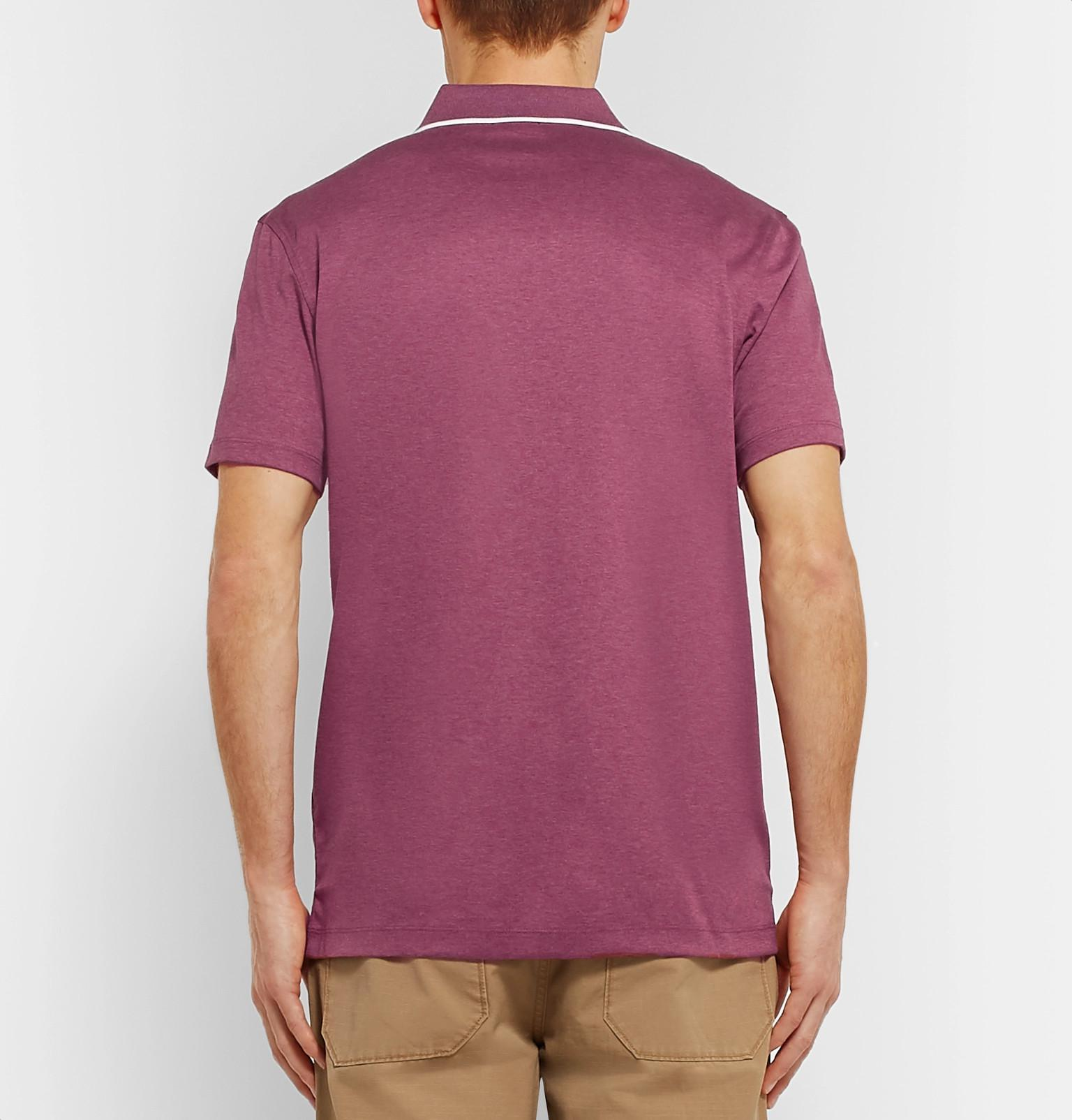 08557707 BOSS Contrast-tipped Mélange Cotton-jersey Polo Shirt in Purple for Men -  Lyst