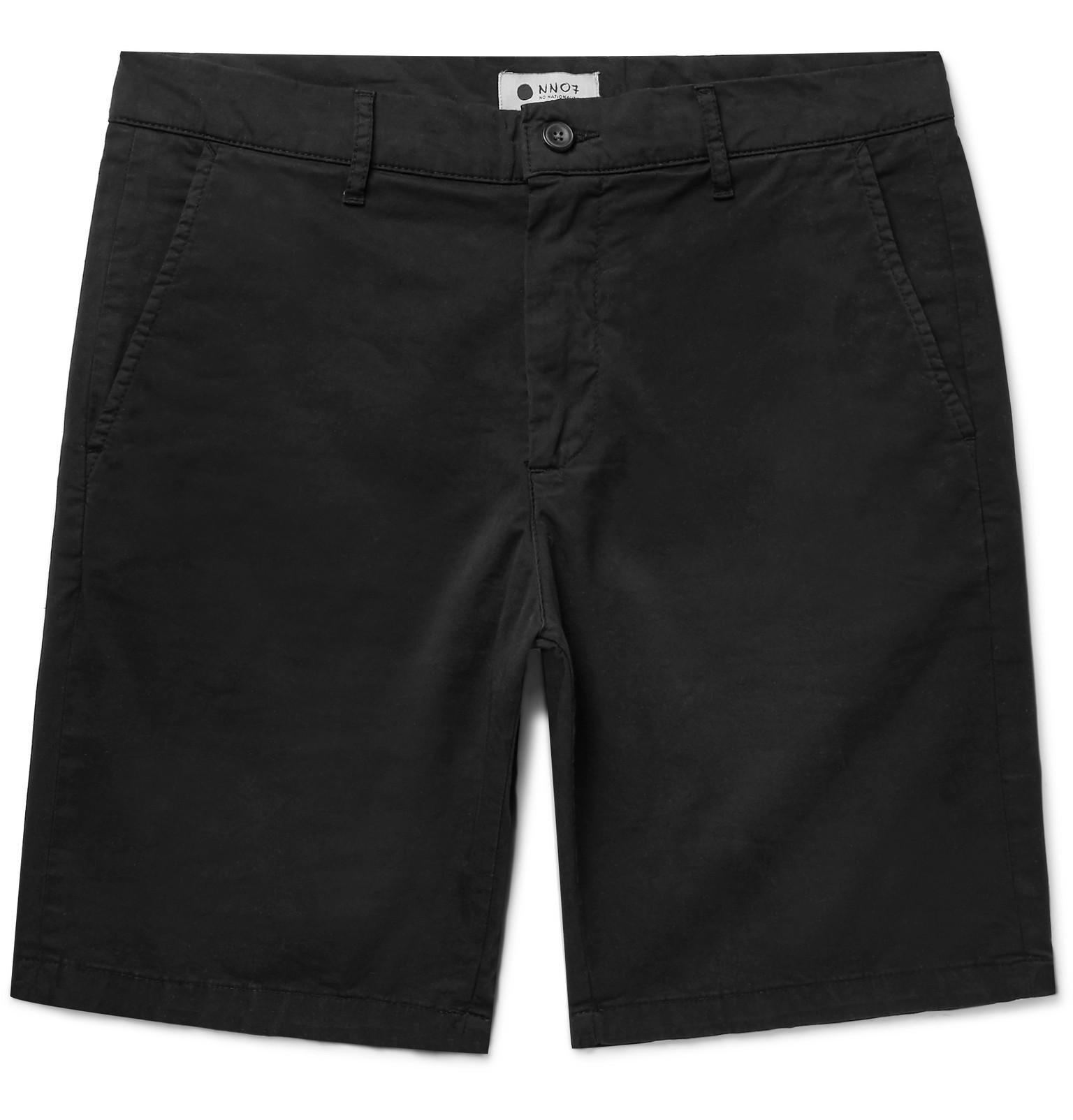 NN.07 Crown Garment-dyed Stretch-cotton Twill Shorts - Black caYXi8Qh