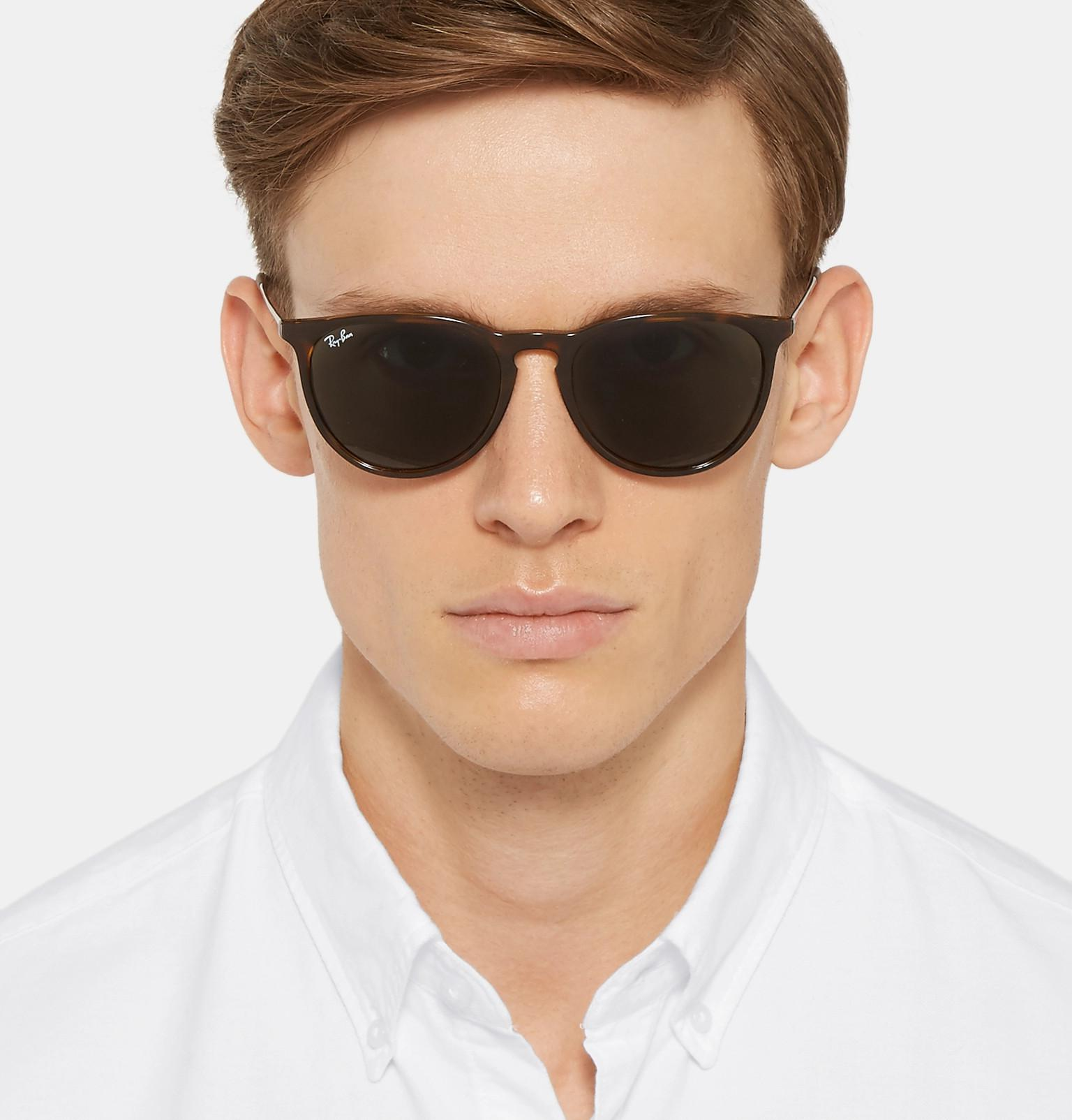 ea6a6ff152 Ray-Ban - Brown Erika Round-frame Tortoiseshell Acetate Sunglasses for Men  - Lyst. View fullscreen