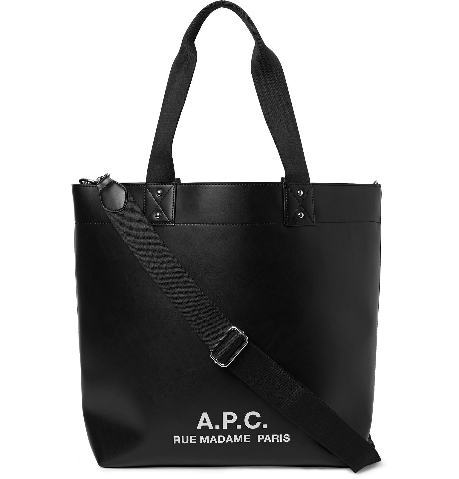 dbe19689023f Lyst - A.P.C. Eddy Logo-print Faux Leather Tote Bag in Black for Men