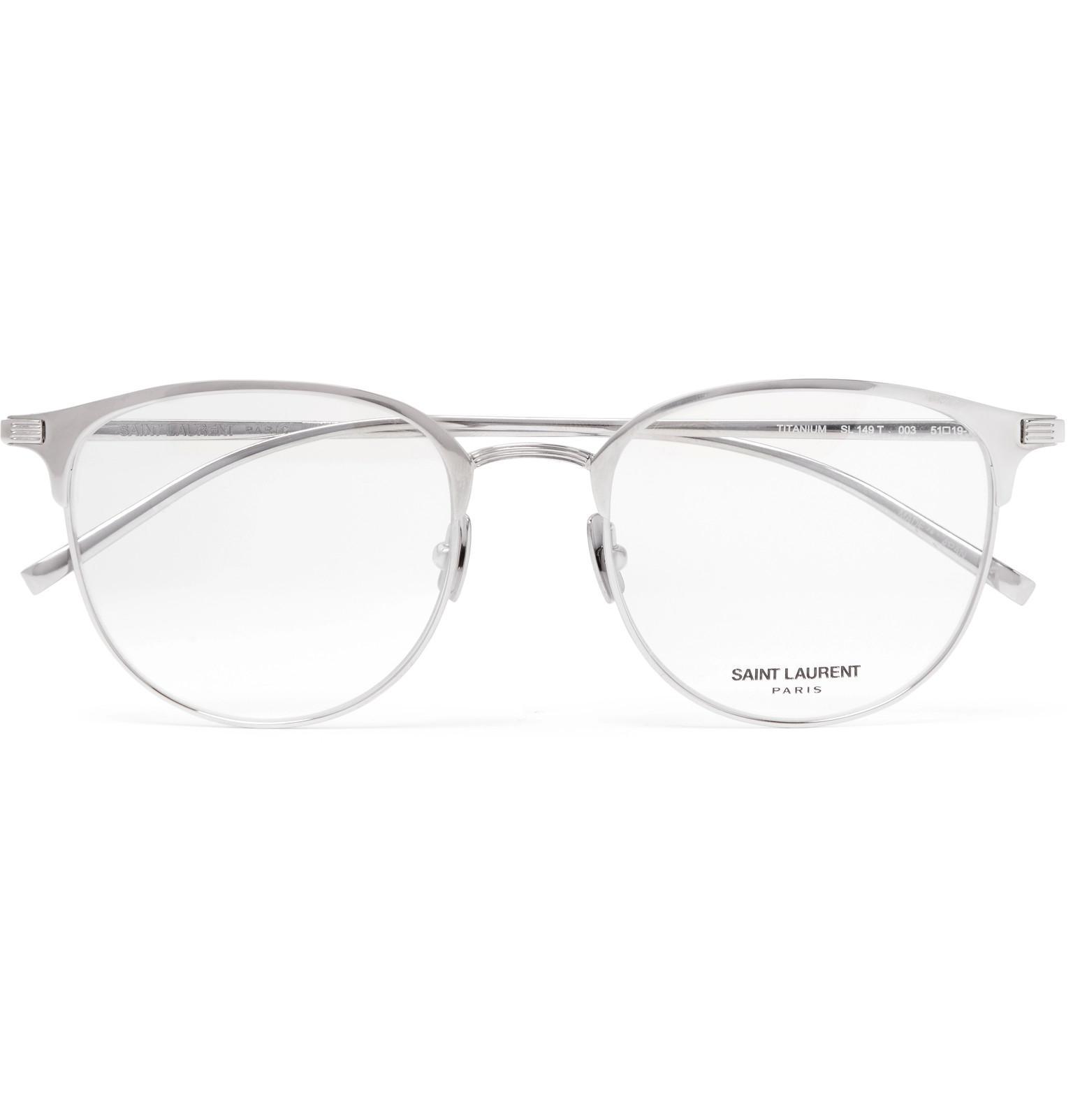 1f15b6f3c99 Lyst - Saint Laurent Round-frame Titanium Optical Glasses in ...