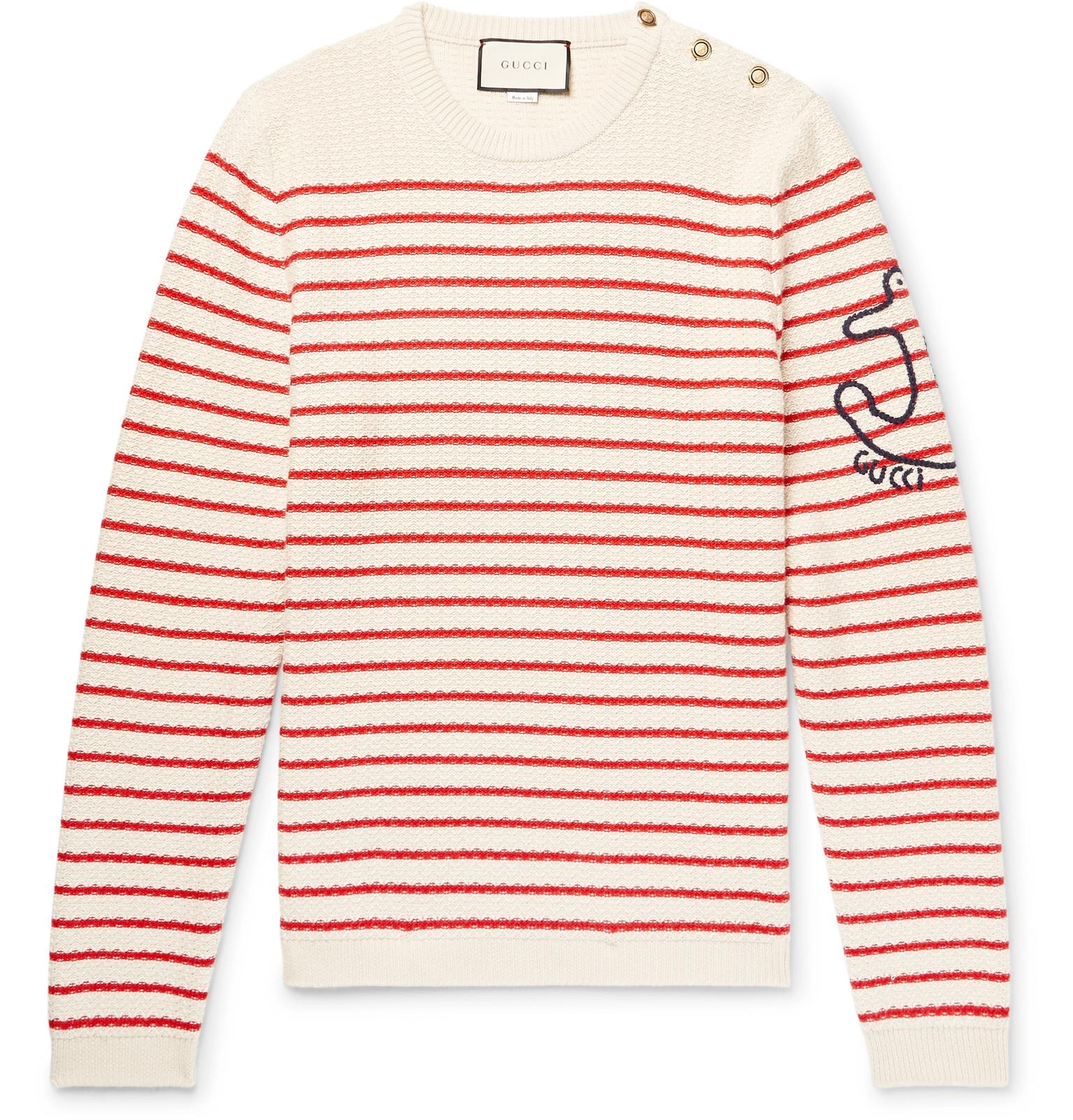 61ad30f4f04dc Lyst - Gucci Embroidered Striped Cotton And Cashmere-blend Sweater ...