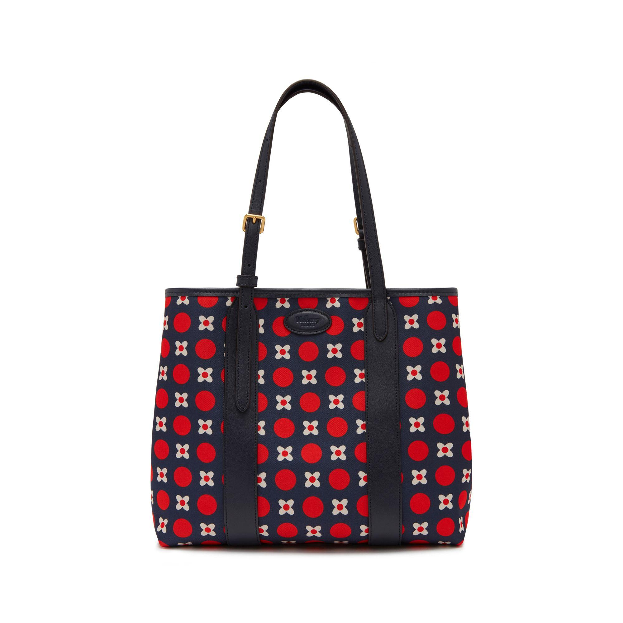 2051a07ffa3a Mulberry. Women s Blue Small Bayswater Tote In Midnight Geo Floral Canvas  And Silky Calf