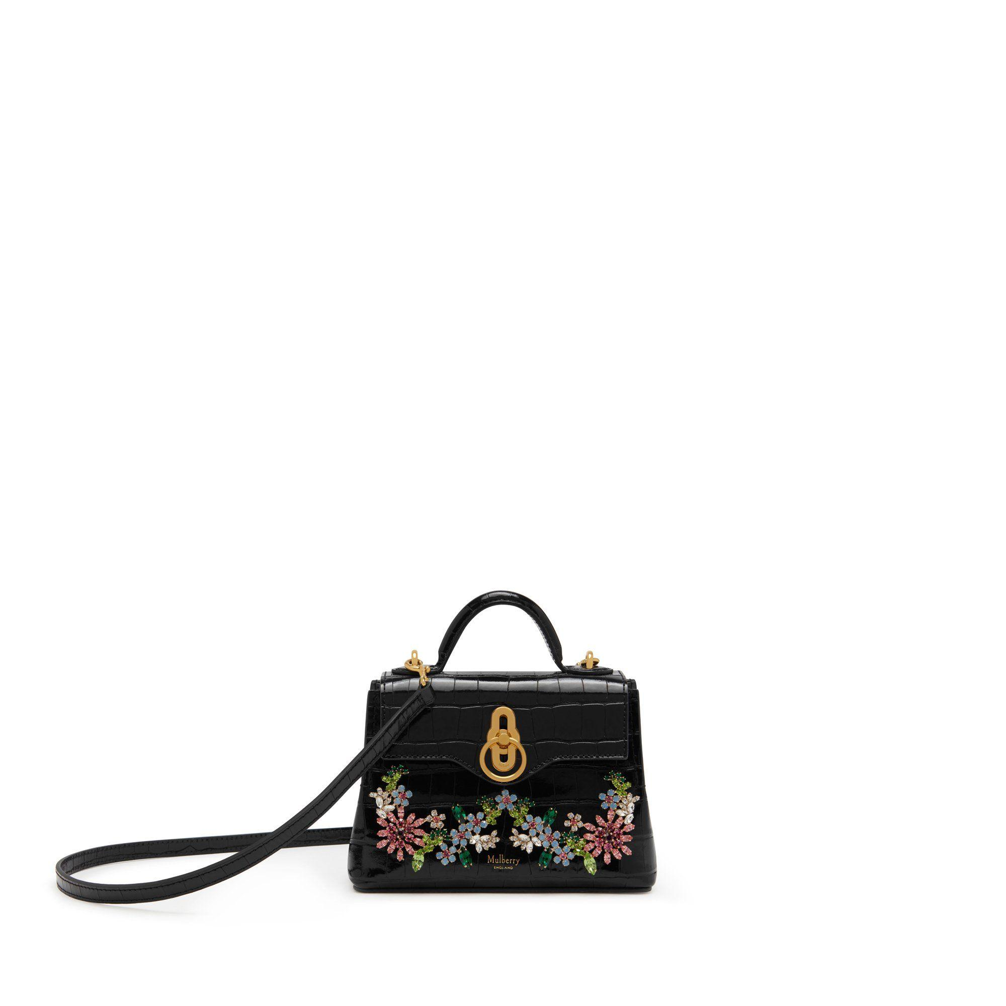 Mulberry - Micro Seaton In Black Croc Print With Flower Crystals - Lyst.  View fullscreen 1e8b7948c0d64