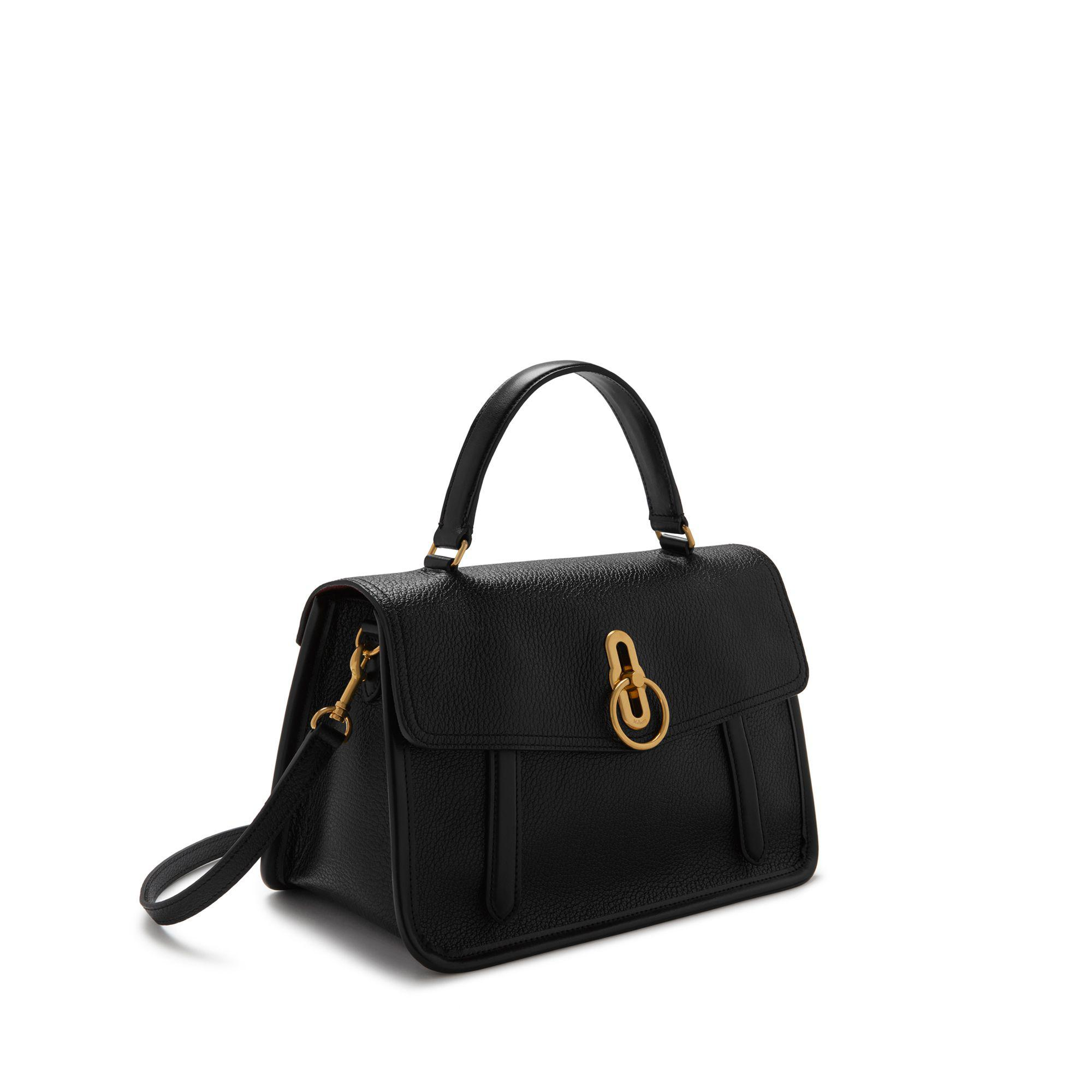 Lyst - Mulberry Gracy Satchel In Black Textured Goat And Smooth Calf ... 666c64a031