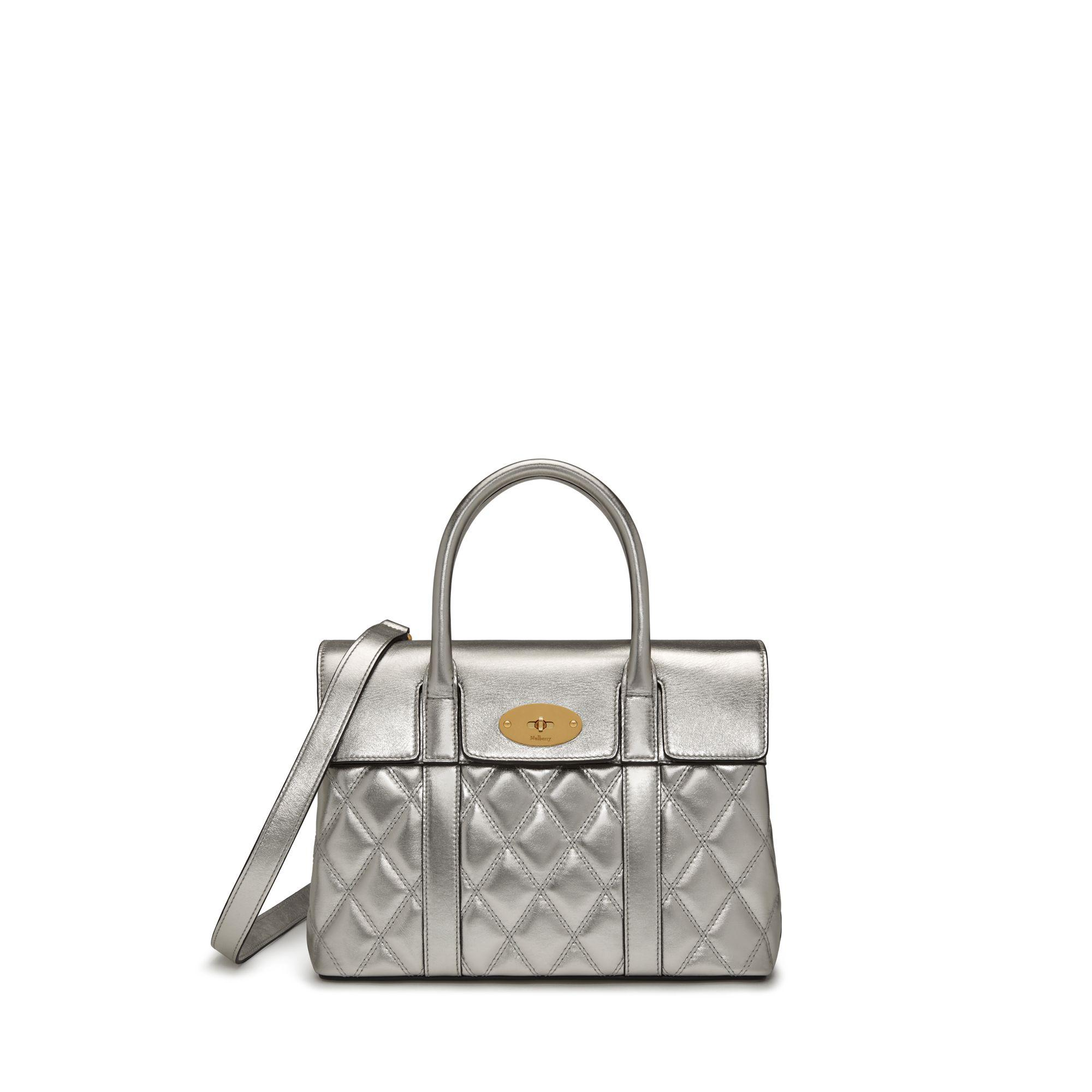 00b775d30d89 Mulberry Small Bayswater In Light Silver Quilted Smooth Calf in ...