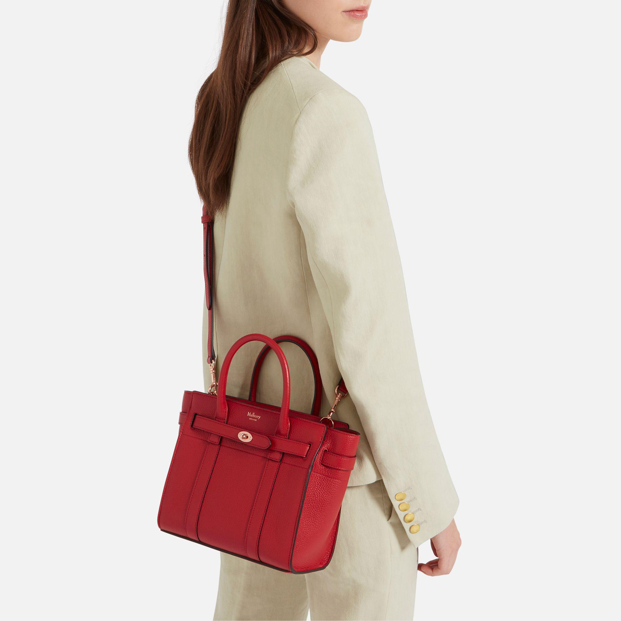 5ce7a37fa7dd Lyst - Mulberry Mini Zipped Bayswater in Red
