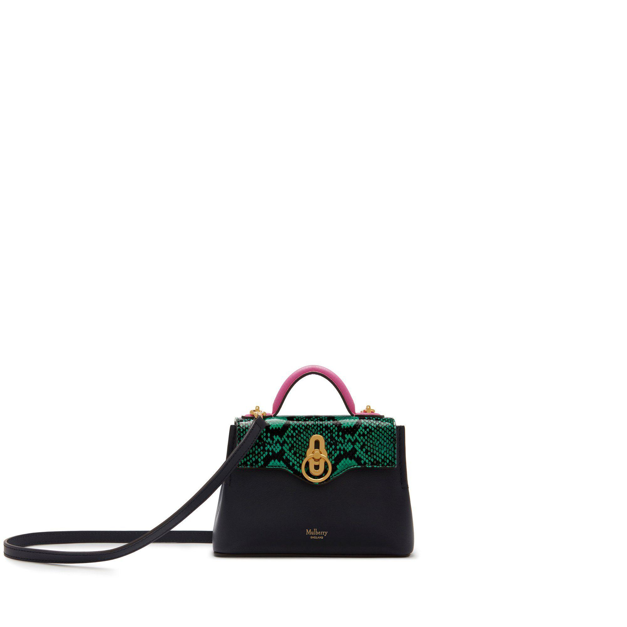 af243ddca8e Lyst - Mulberry Micro Seaton In Viridian Green, Raspberry Pink And ...