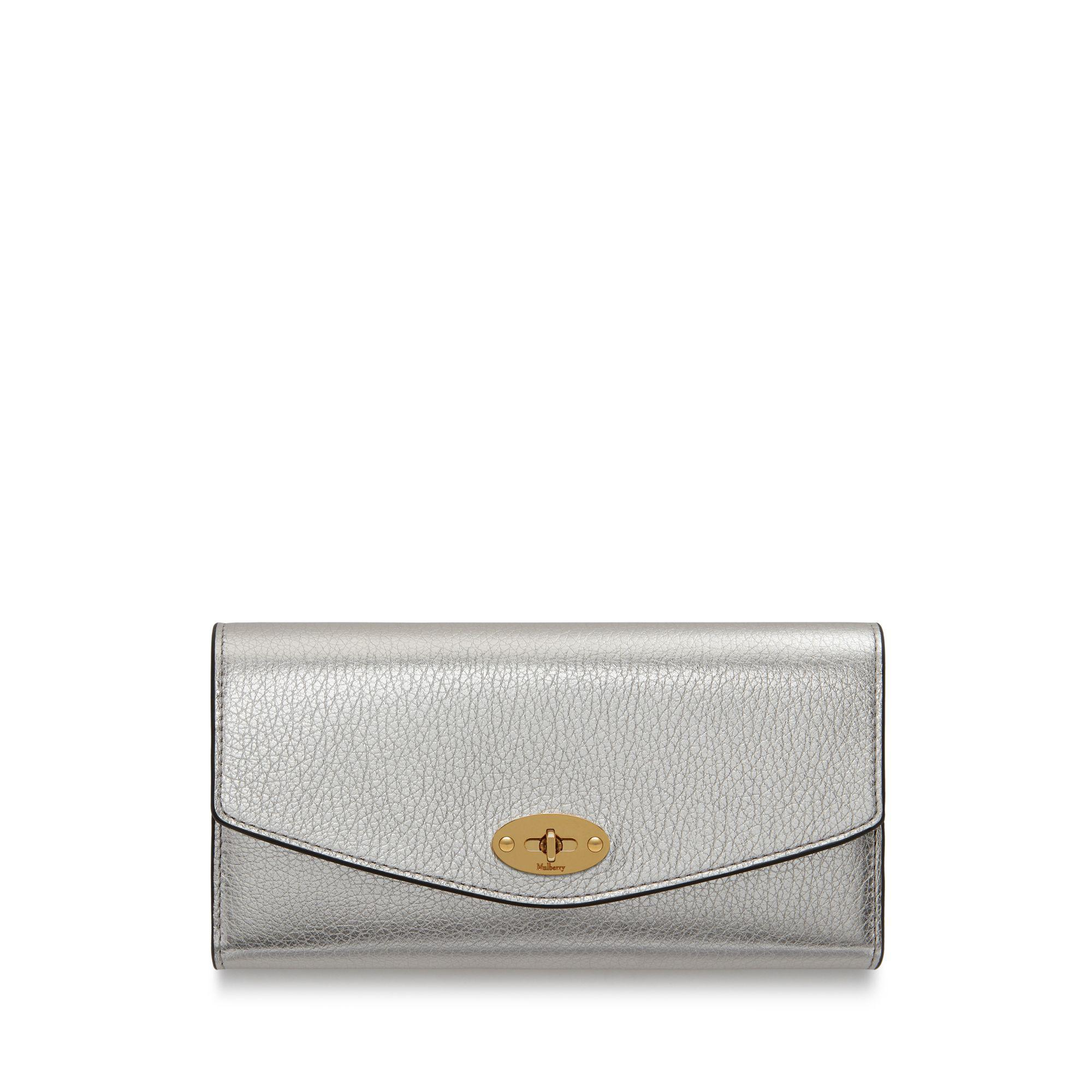 13acc1806b3a Lyst - Mulberry Darley Wallet In Light Silver Metallic Printed Calf ...