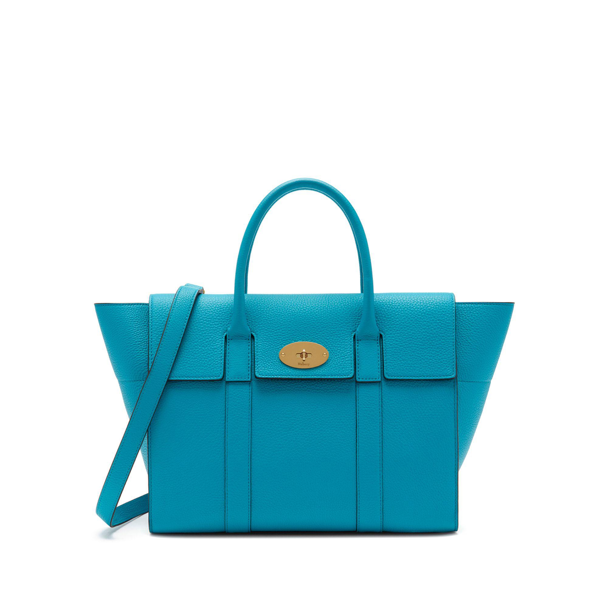 ed3f34b7d5 Lyst - Mulberry Bayswater With Strap In Azure Small Classic Grain in ...