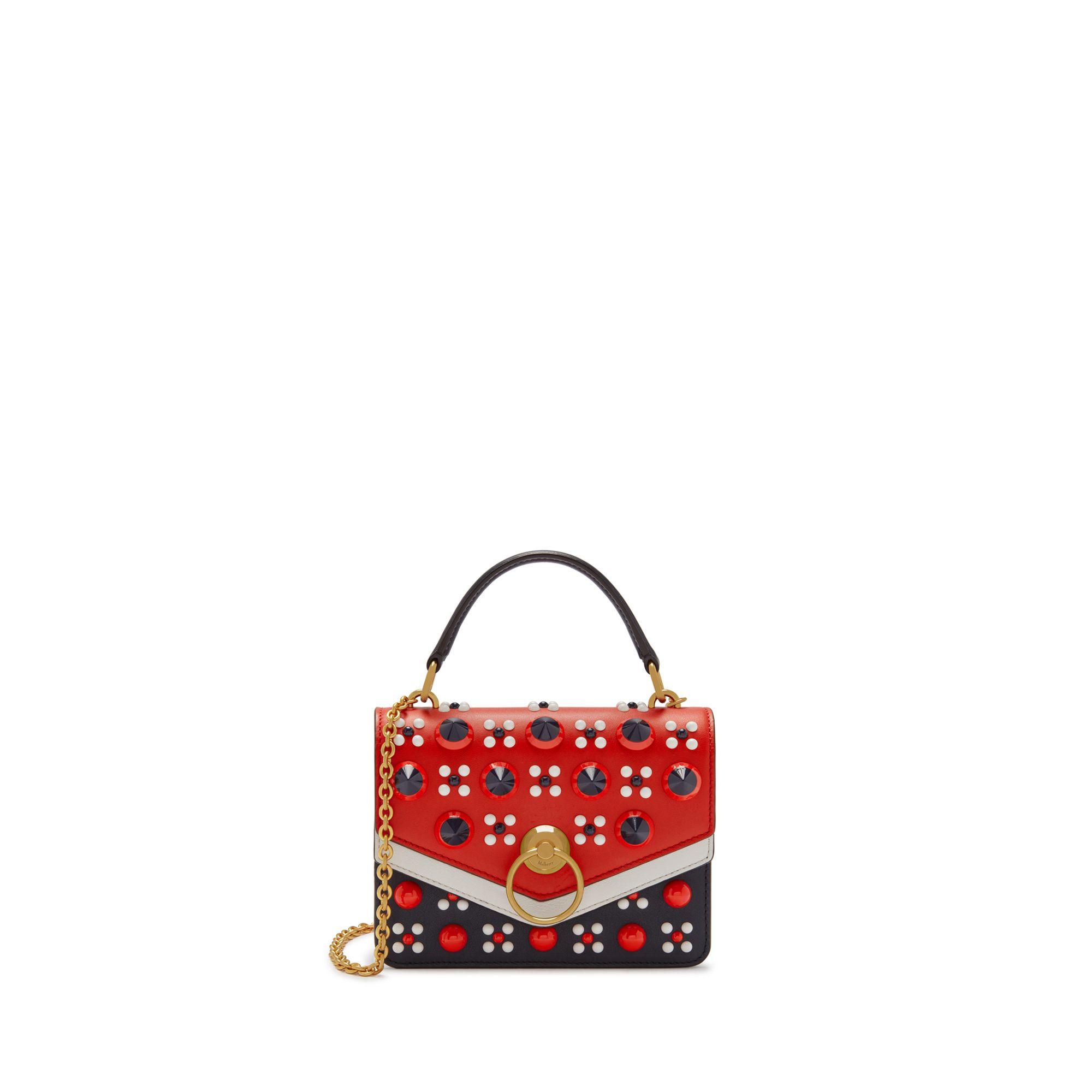 3246209ad02c Mulberry. Women s Small Harlow Satchel In Midnight And Hibiscus Red Silky  Calf ...