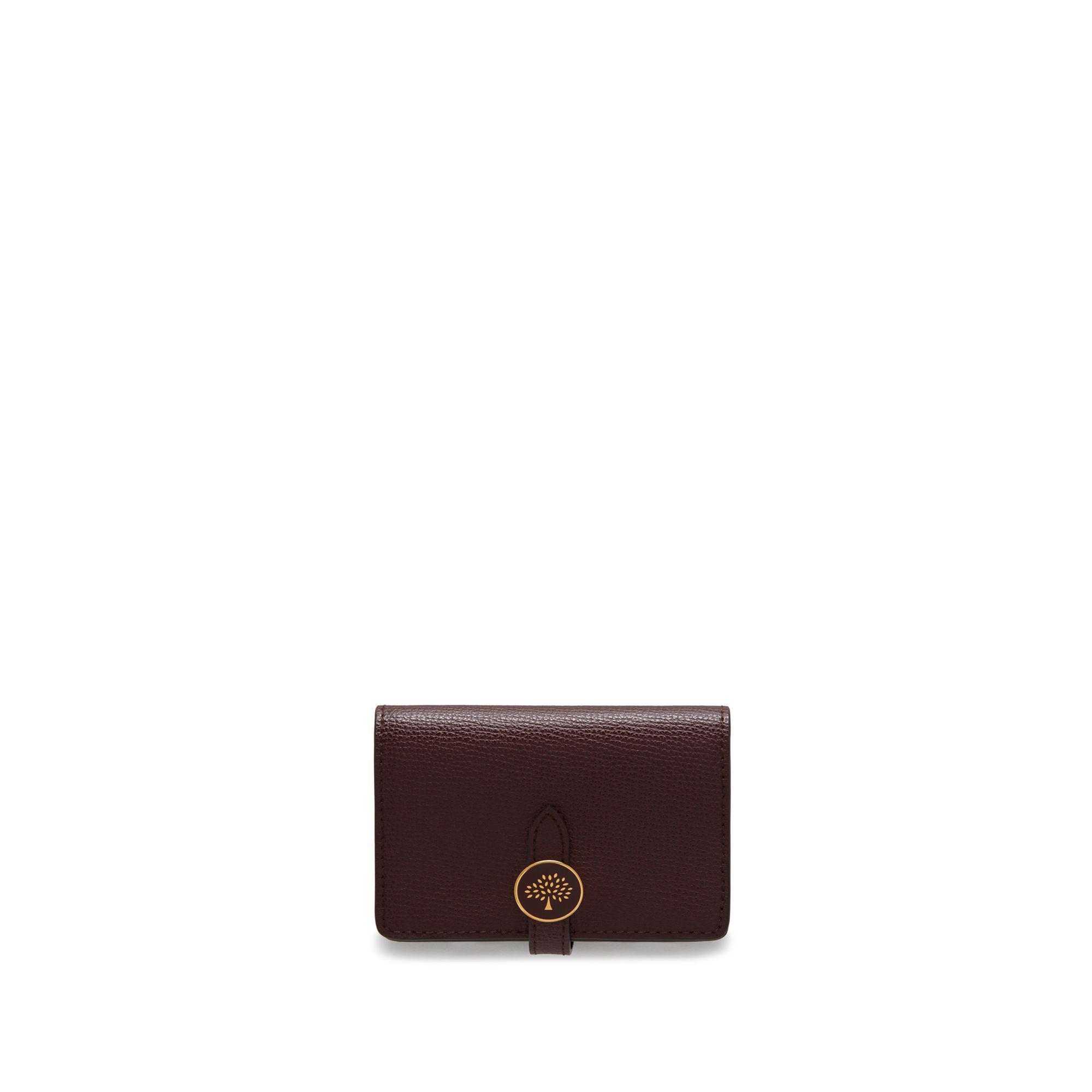 064818c799 Mulberry Tree Card Holder Wallet In Oxblood Cross Grain Leather in ...