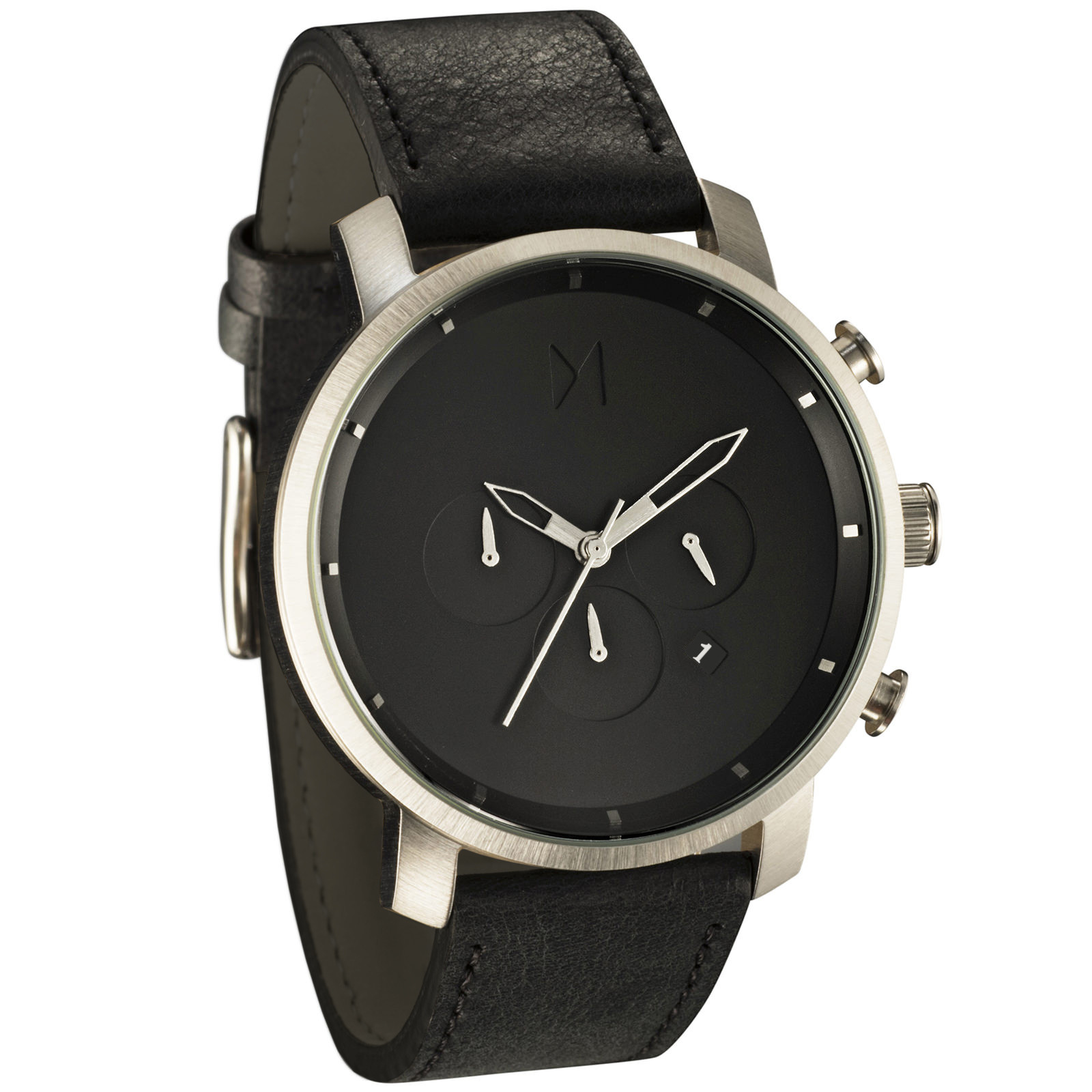 Mvmt watches chrono silver black leather in multicolor for men default title lyst for Mvmt watches