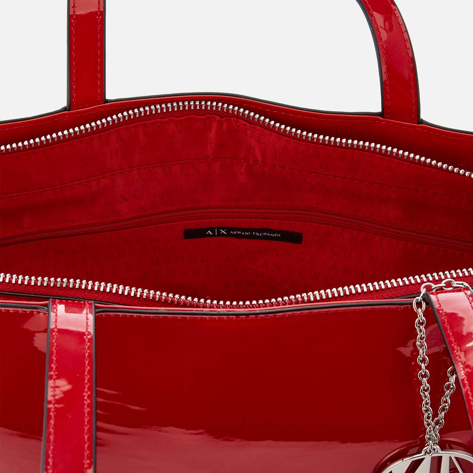 Armani Exchange - Red Patent Shopping Tote Bag - Lyst. View fullscreen 5e1b269eb903f