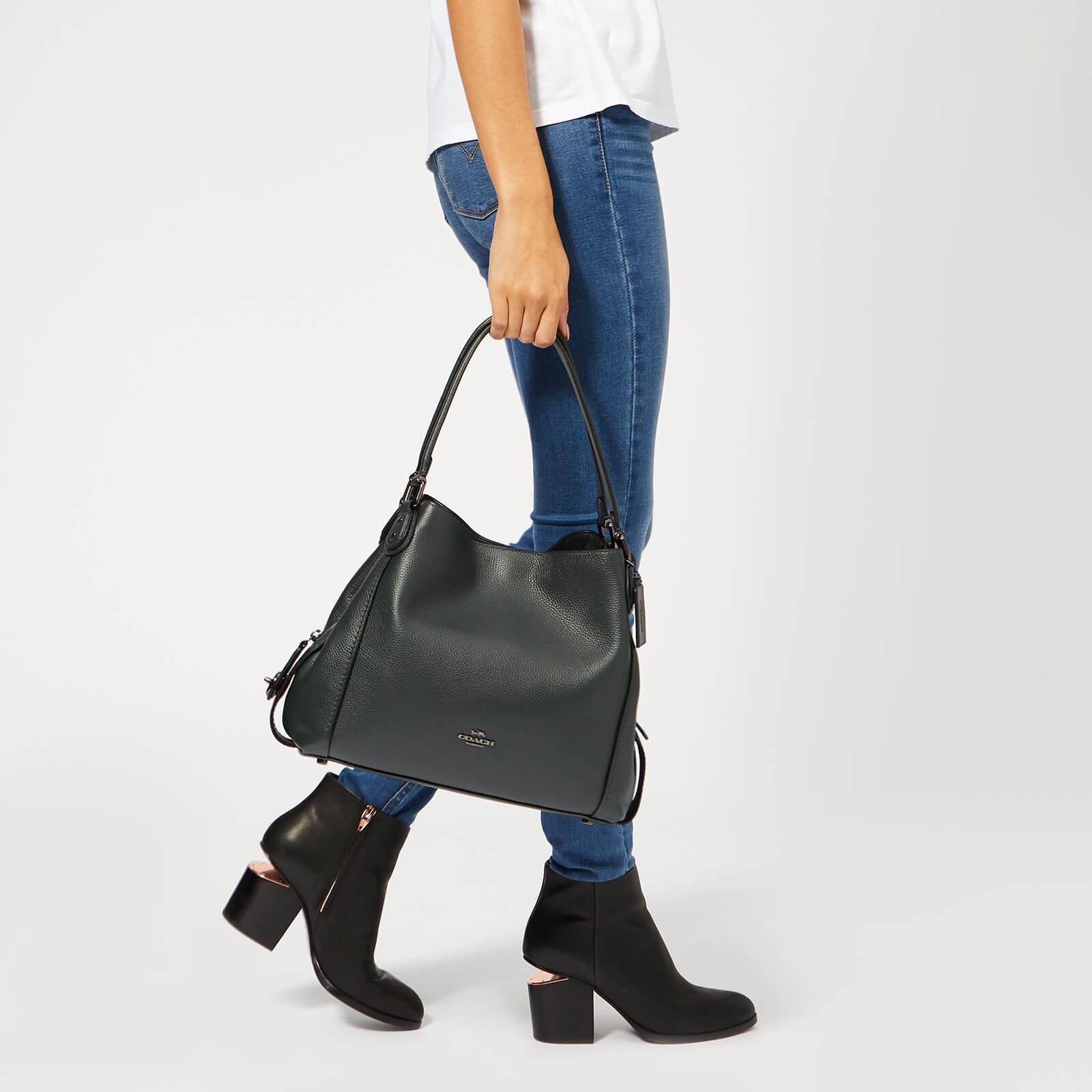 COACH - Black Polished Pebble Leather Edie 31 Shoulder Bag - Lyst. View  fullscreen 309750c65ac45