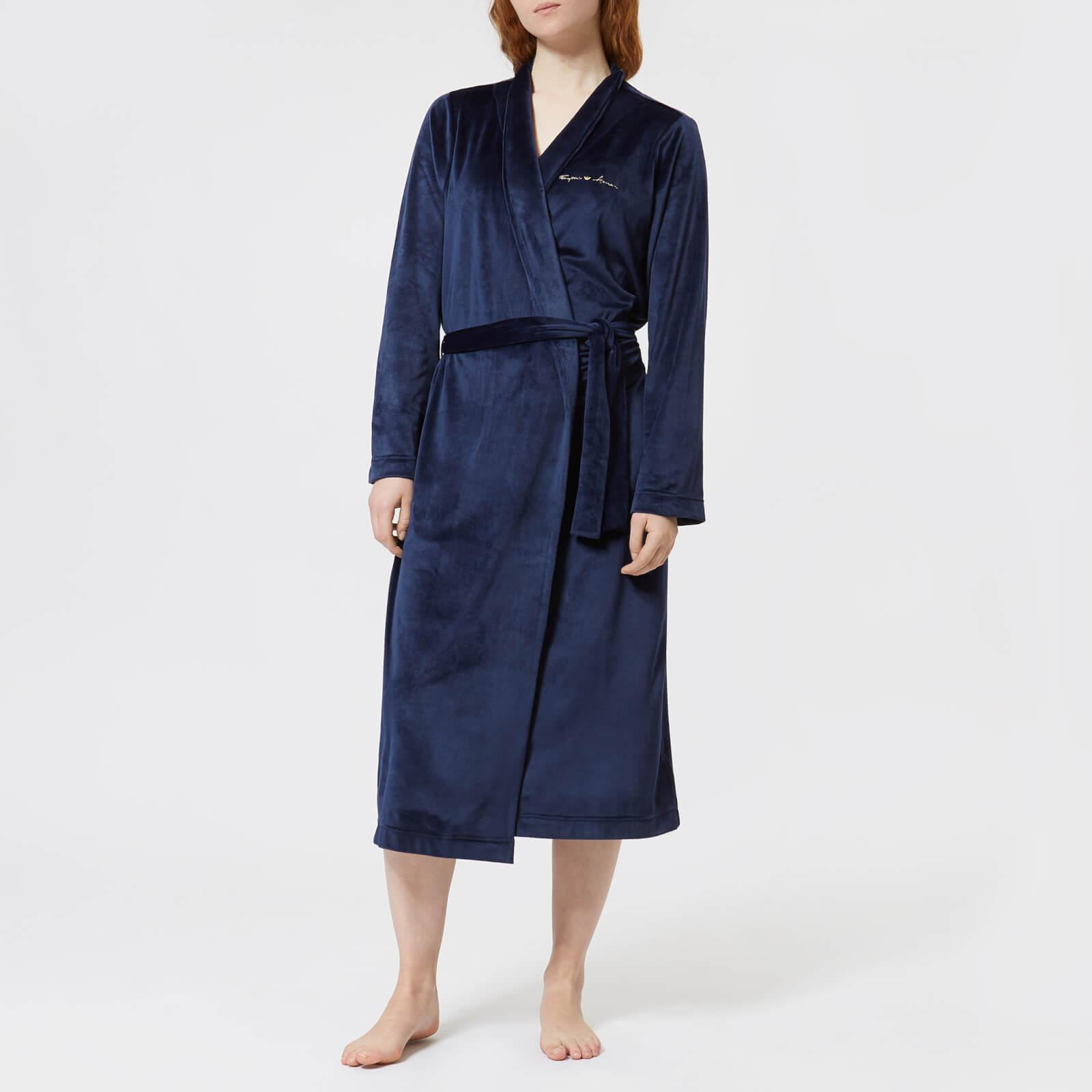 Emporio Armani Shiny Velvet Dressing Gown in Blue - Lyst 2cac61954
