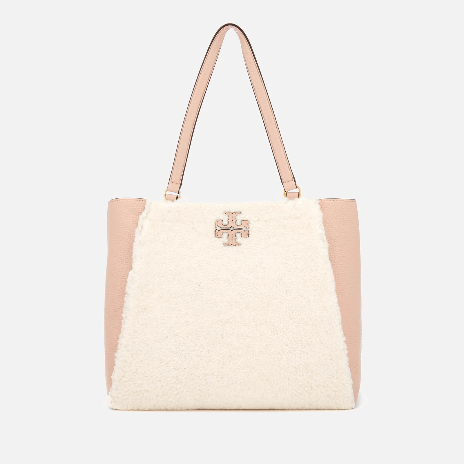 4fe34b547a0a Tory Burch Mcgraw Shearling Carryall Bag in Natural - Lyst