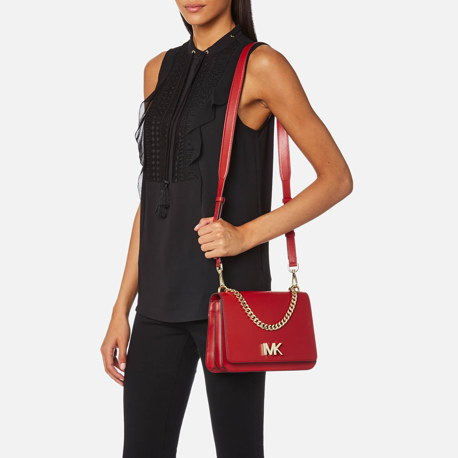 13c342a3a1e0 MICHAEL Michael Kors Mott Large Chain Swag Shoulder Bag in Red - Lyst