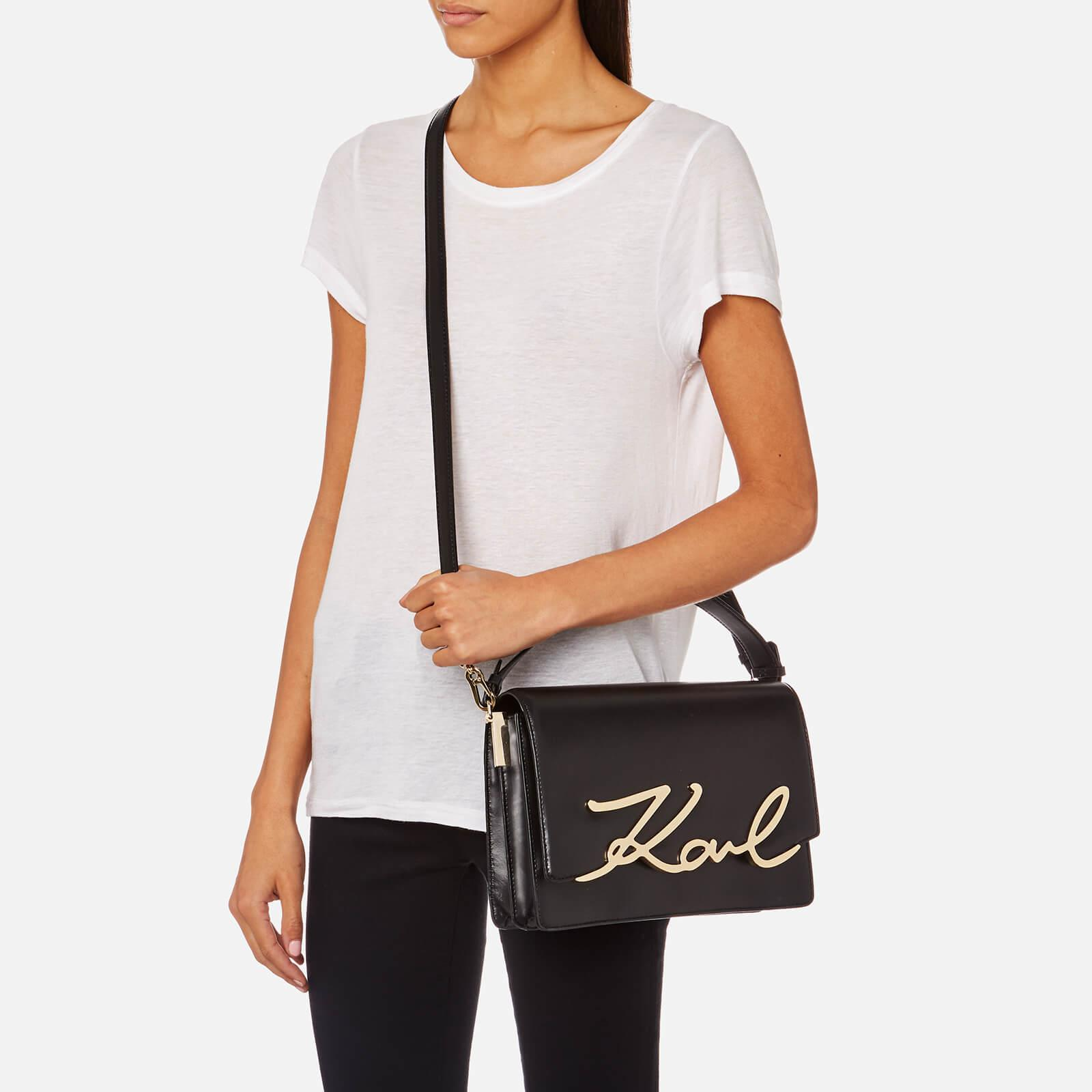 6d2ce143781f Lyst - Karl Lagerfeld Signature Big Shoulder Bag in Black