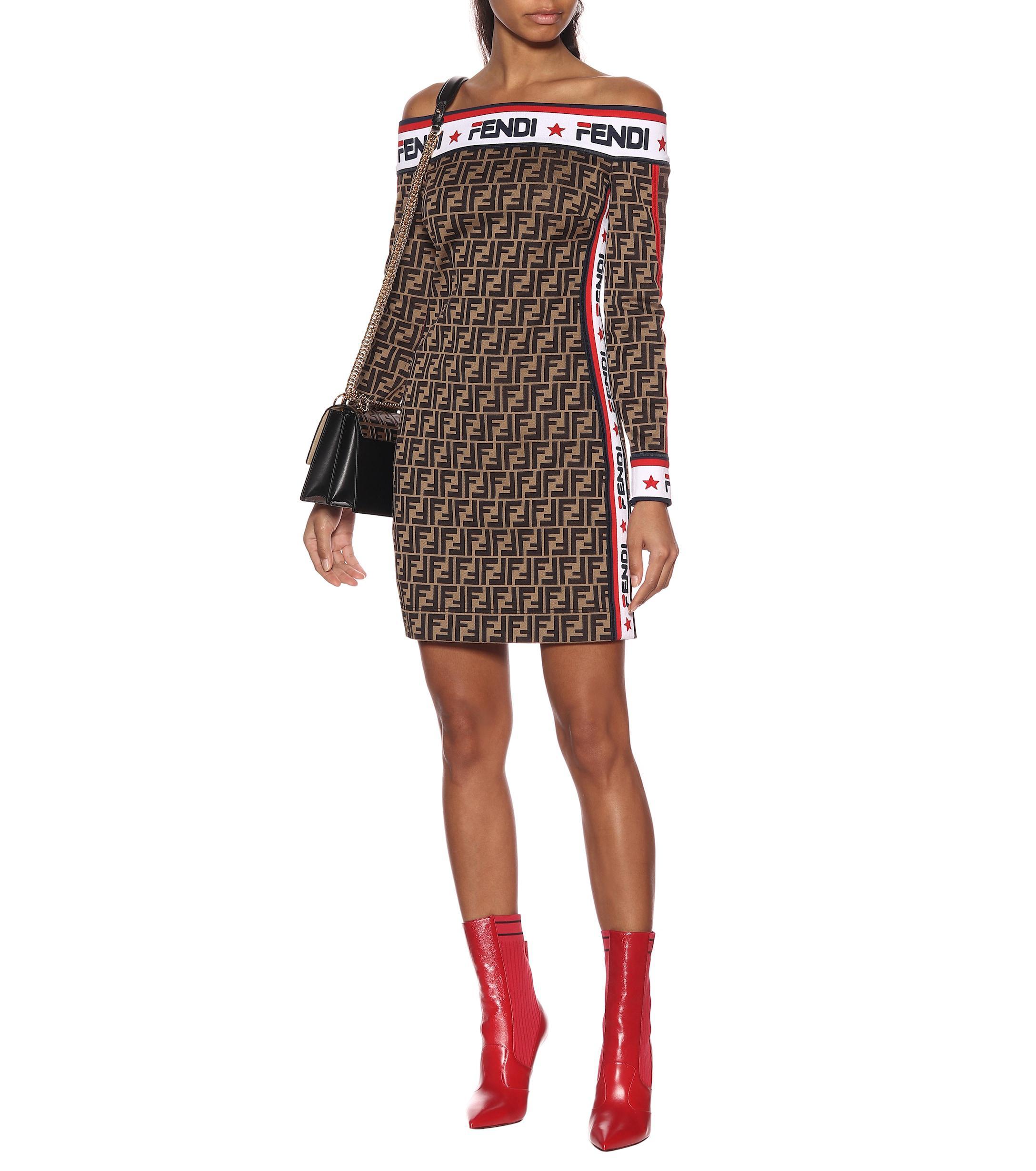2c4404a2d106 Fendi - Multicolor Mania Jersey Dress - Lyst. View fullscreen