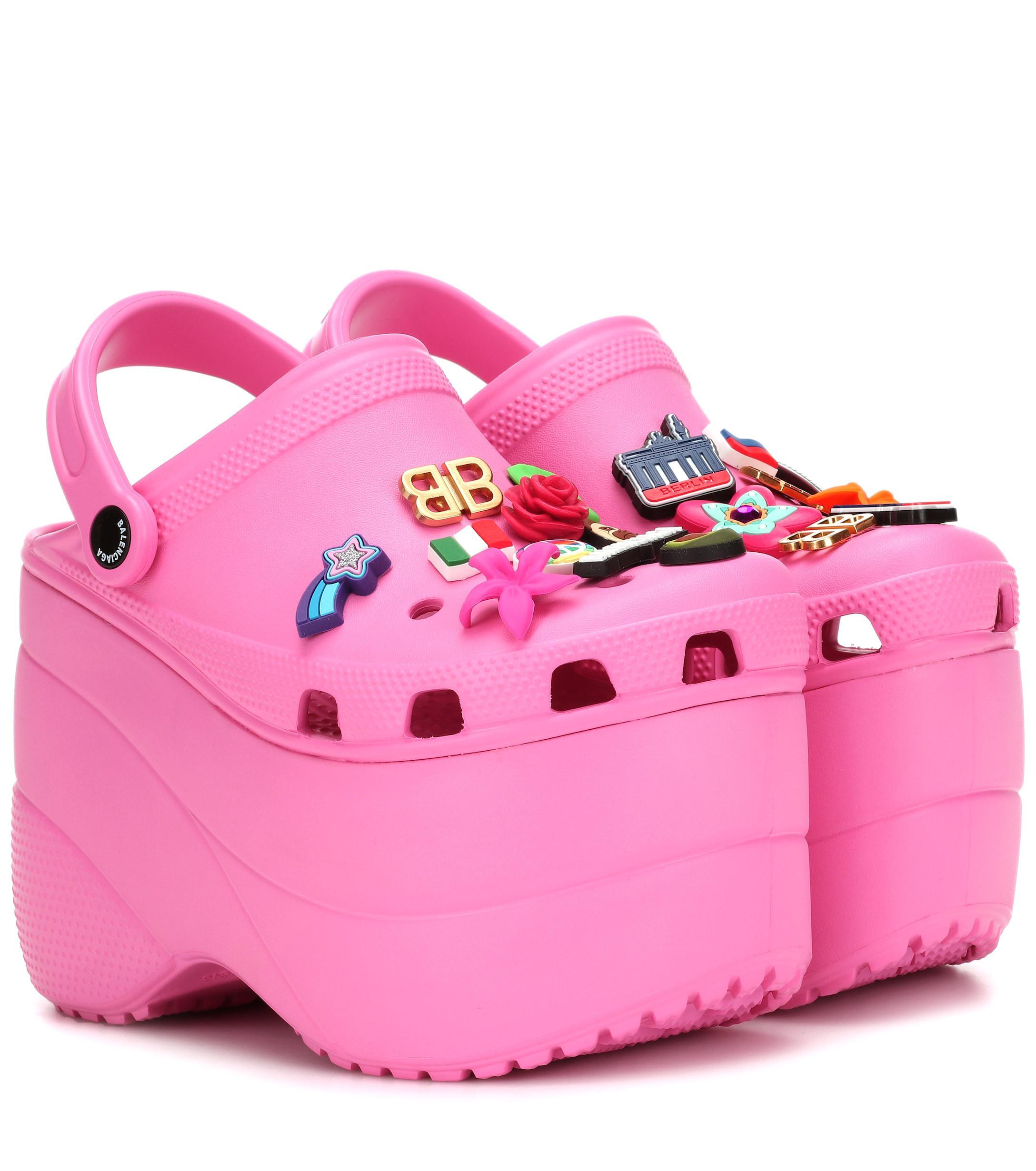 78de2fc85a52 balenciaga women s crocs. Lyst - Balenciaga Platform Crocs in Pink