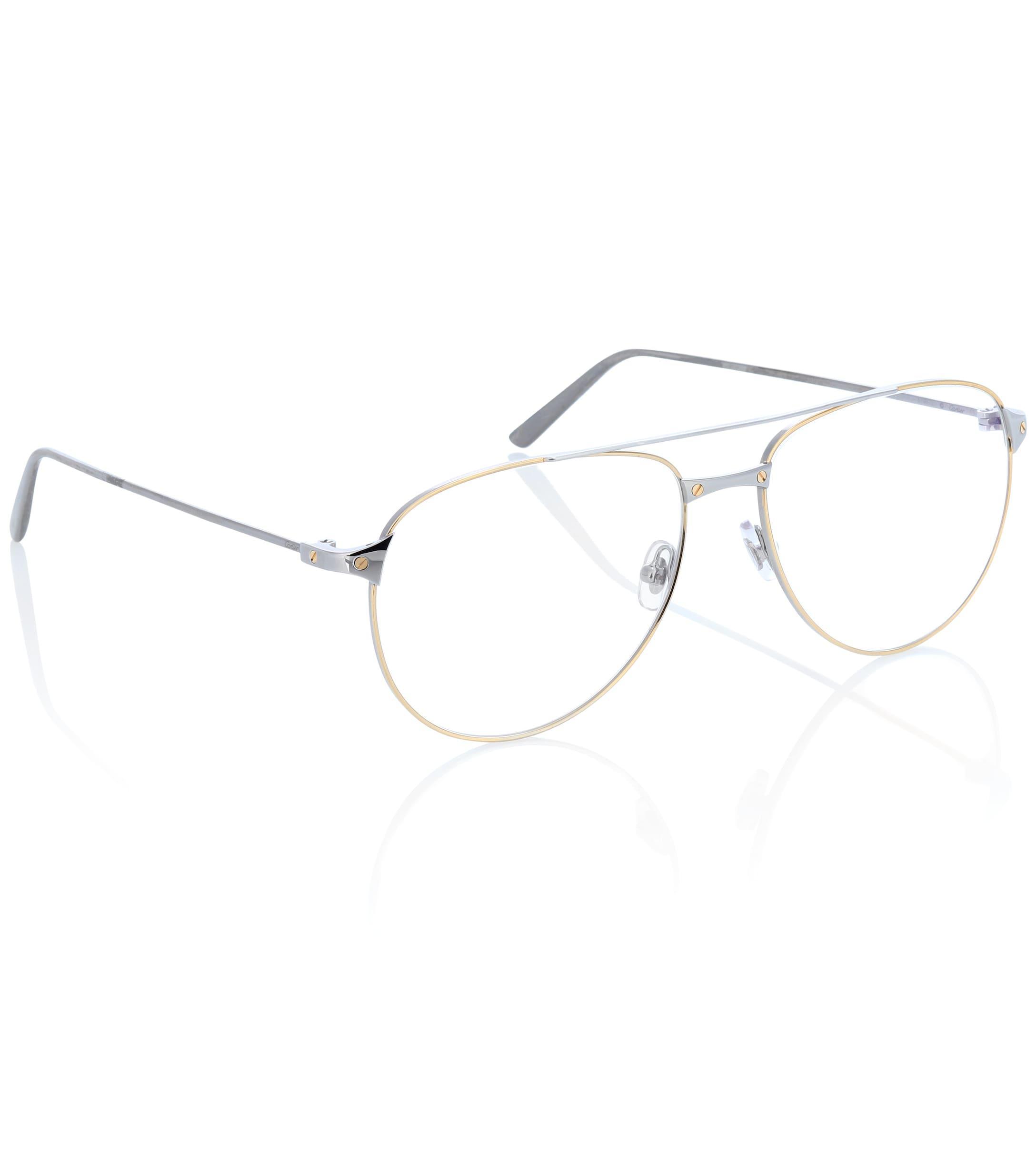 63f0e5201f Cartier - Metallic Santos De Cartier Aviator Glasses - Lyst. View fullscreen