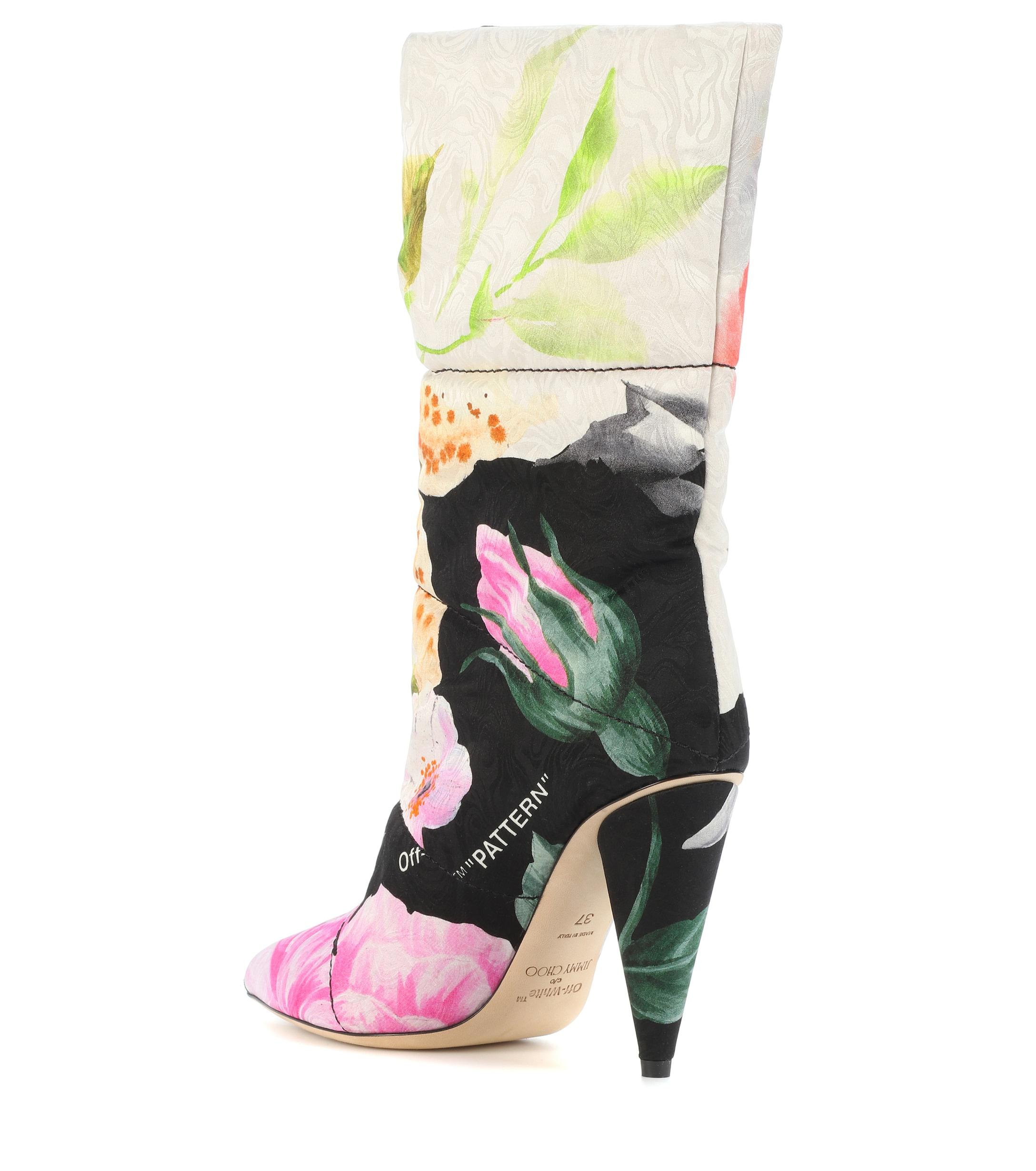 b5e256029f3d Lyst - Jimmy Choo X Off-white Sara 100 Floral Jacquard Boots in White