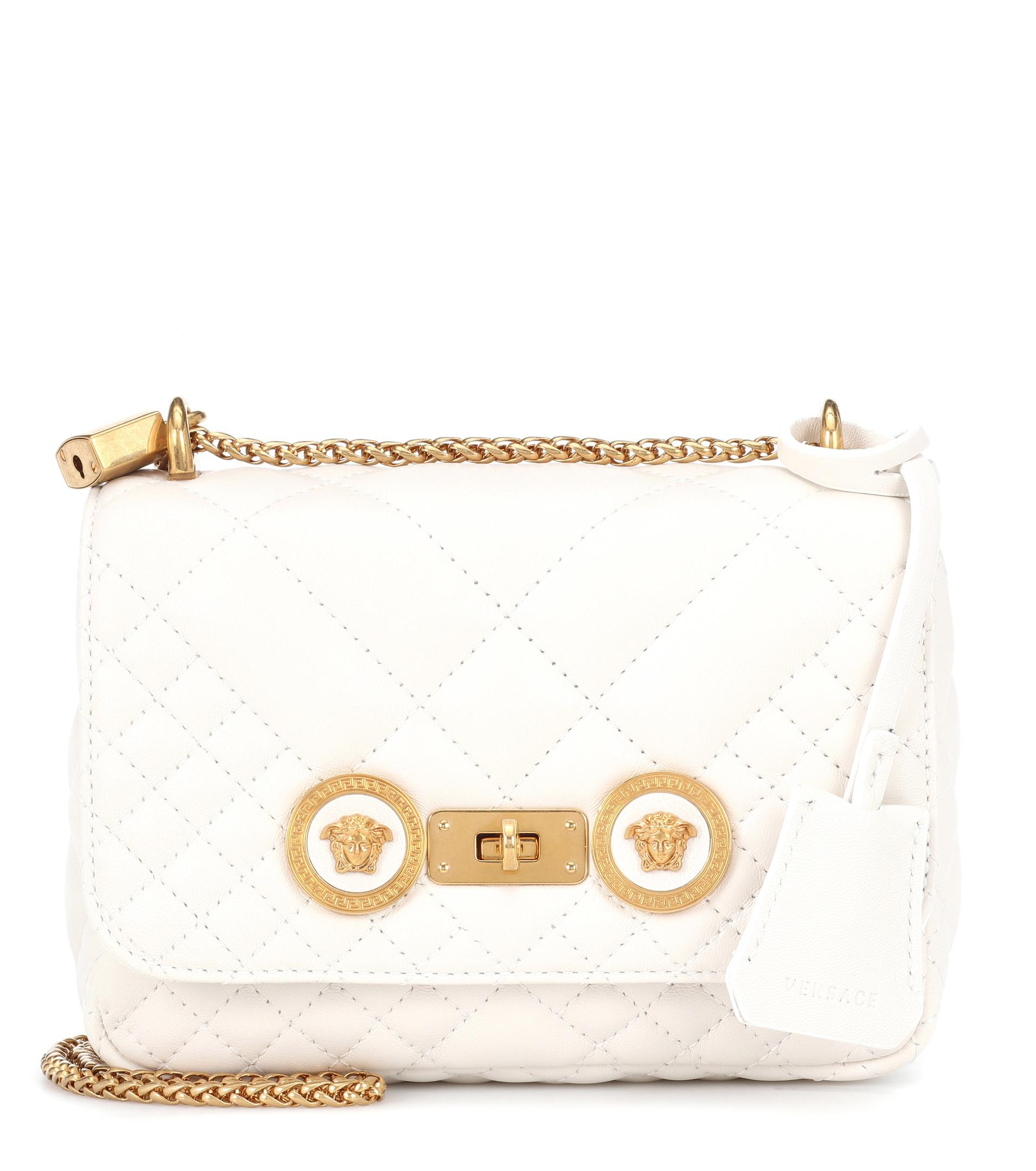 1b9ff660dc00 Lyst - Versace Small Quilted Icon Shoulder Bag in White
