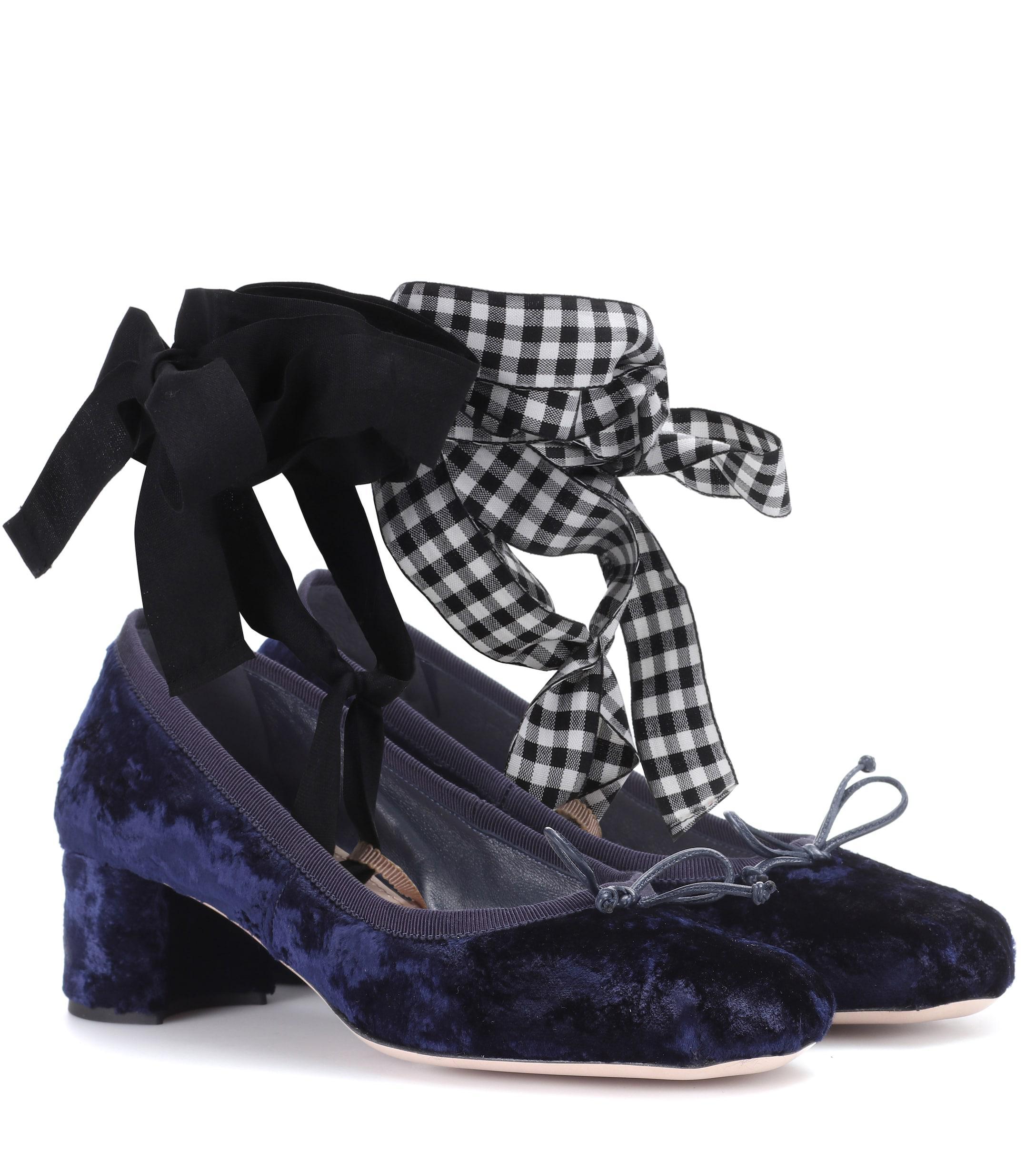 301d9af4e35 Lyst - Miu Miu Velvet Ballerina Pumps in Blue