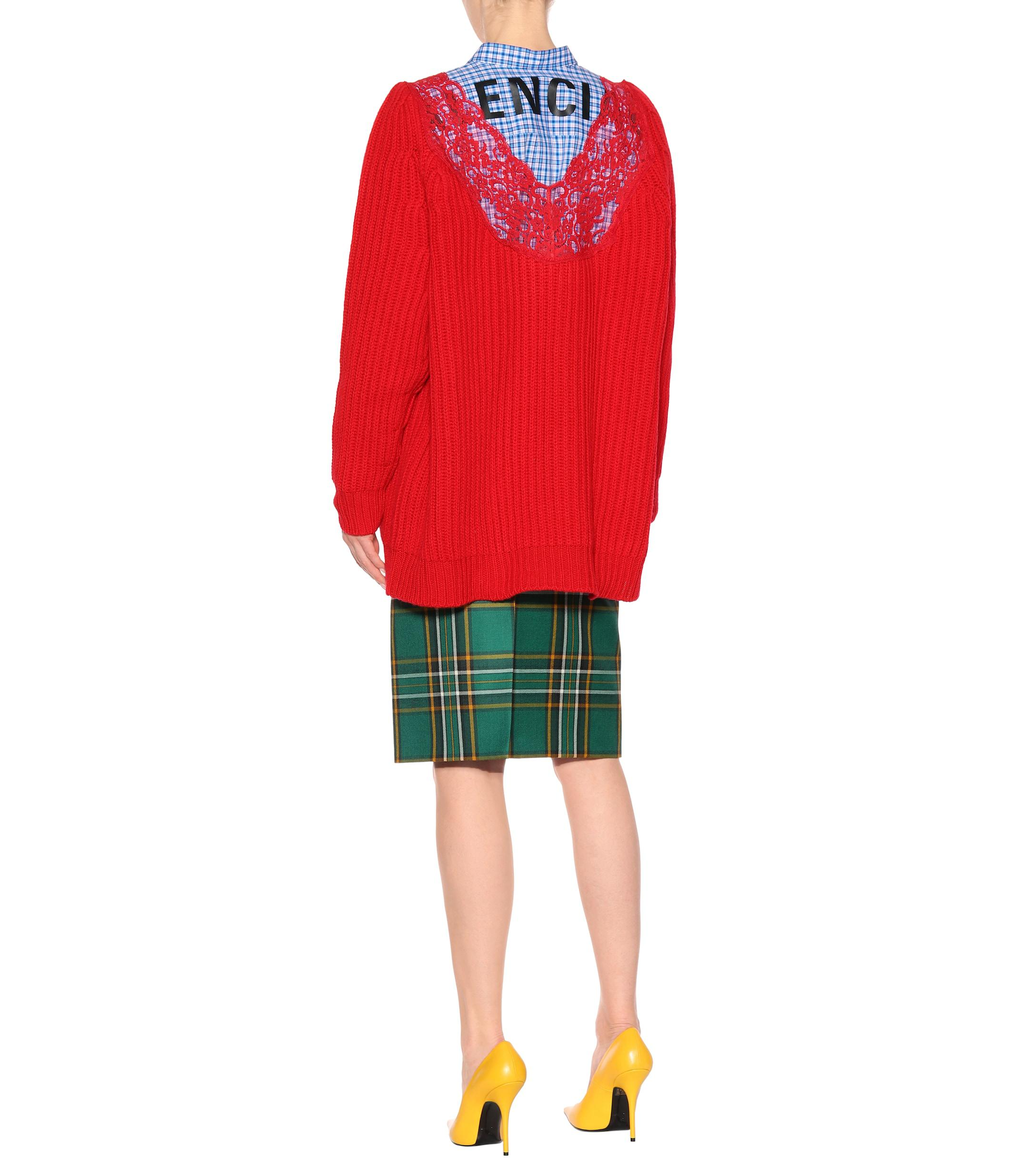 Balenciaga - Red Lace-trimmed Wool Sweater - Lyst. View fullscreen bb9a069dc