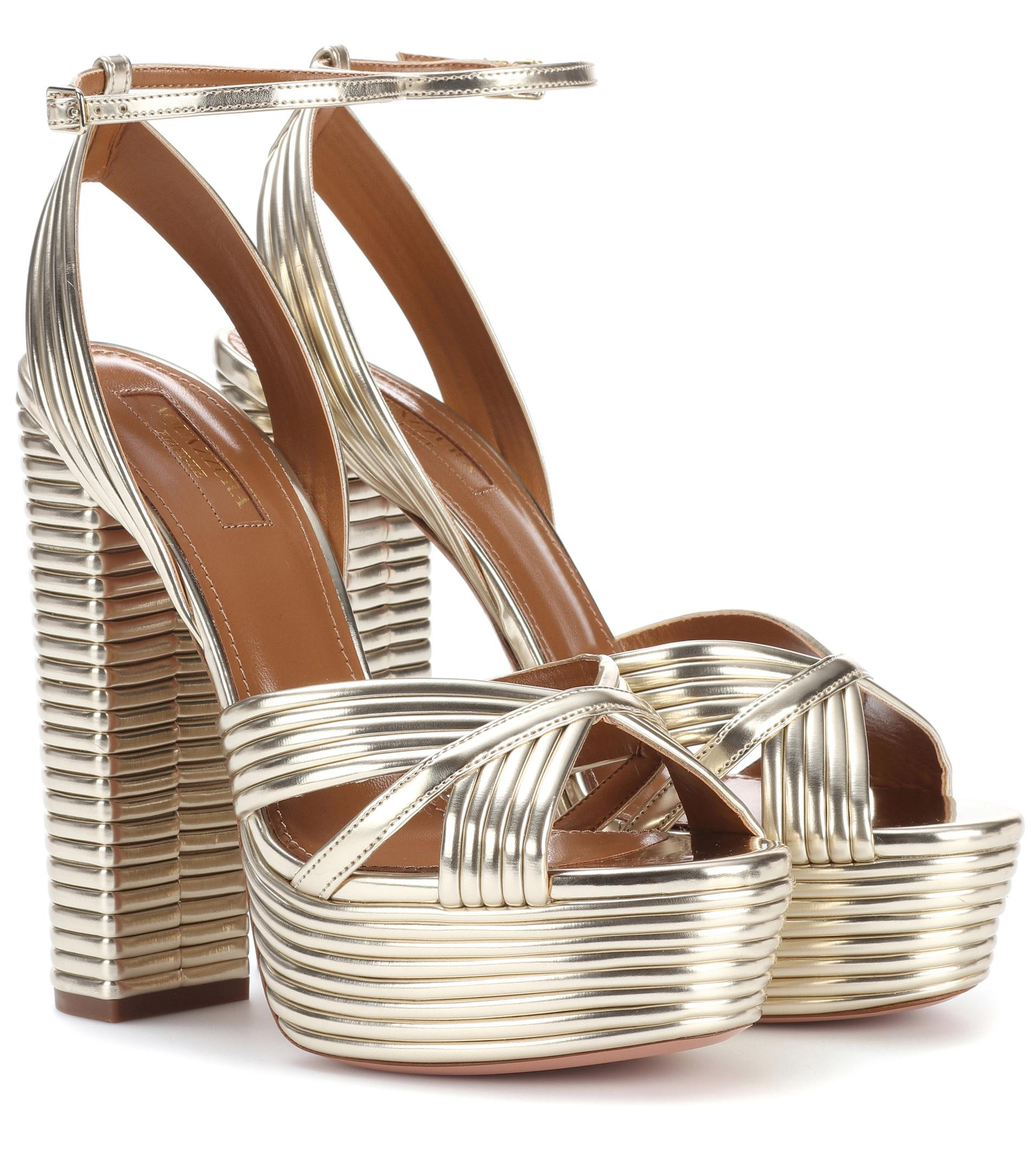 92a5e6dc562 Aquazzura Sundance Plateau 140 Leather Sandals in Metallic - Lyst