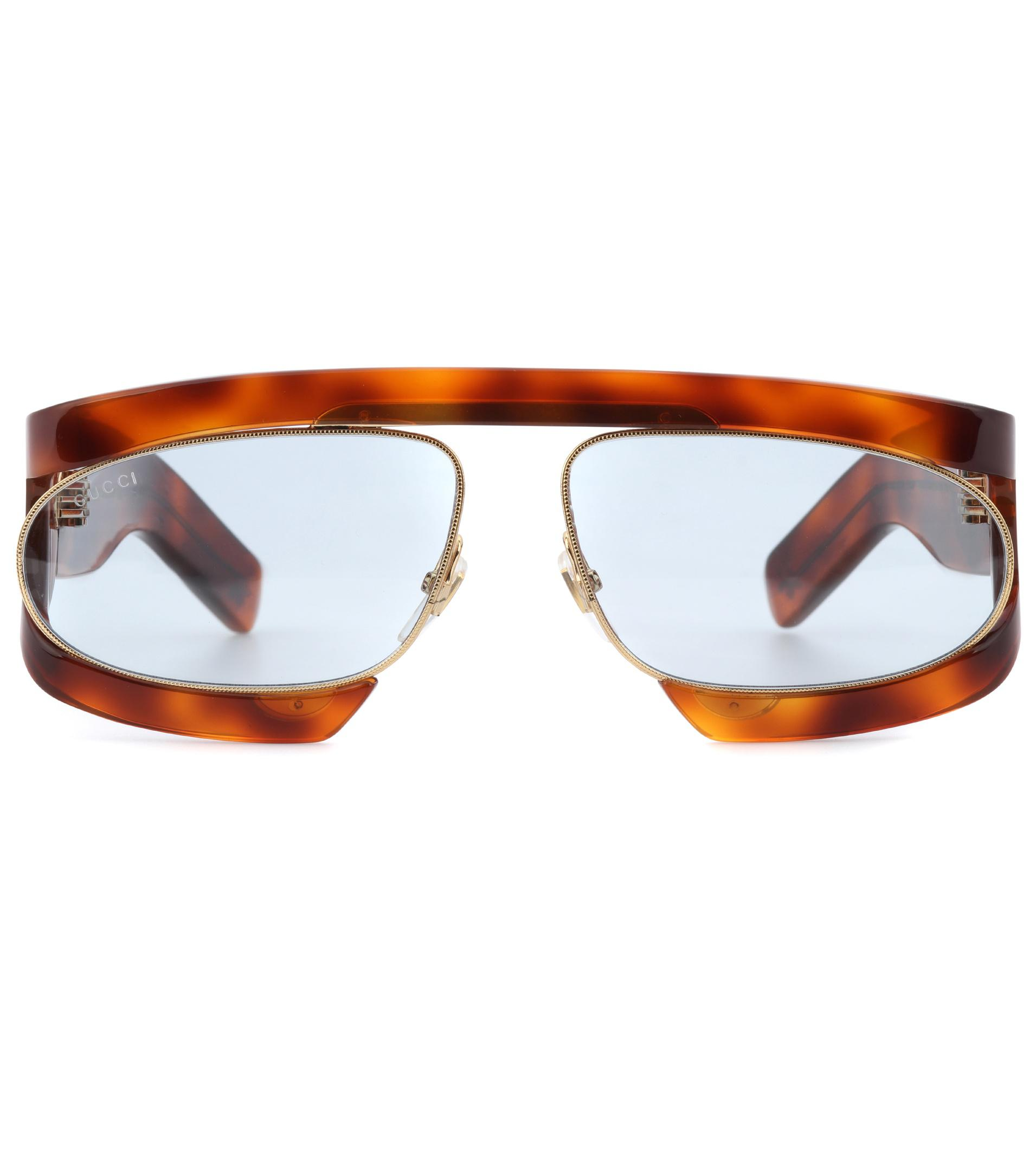 fe78f9f88a Gucci Tortoiseshell-effect Sunglasses in Brown - Lyst