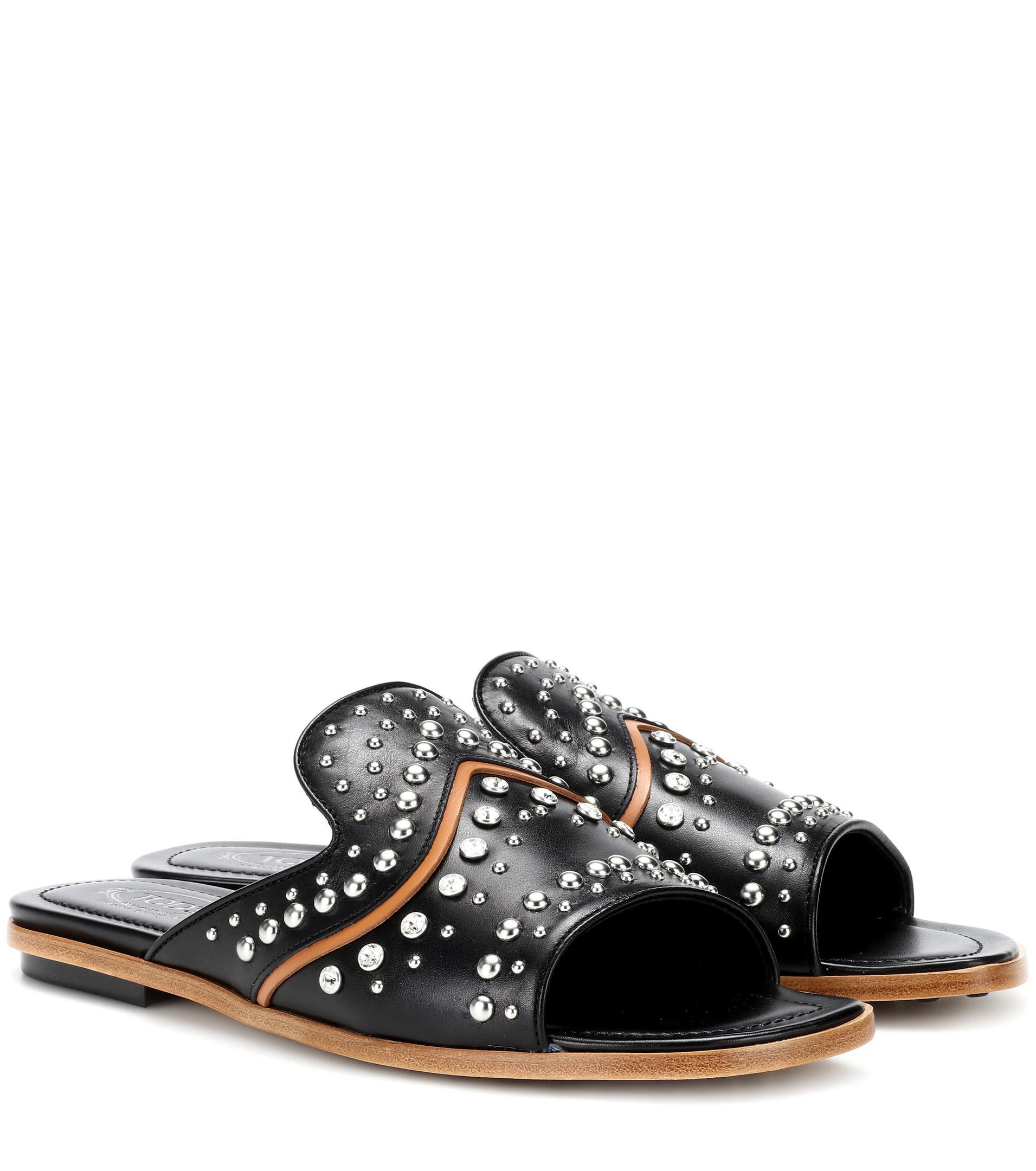 Embellished leather sandals Tod's ir7vn21