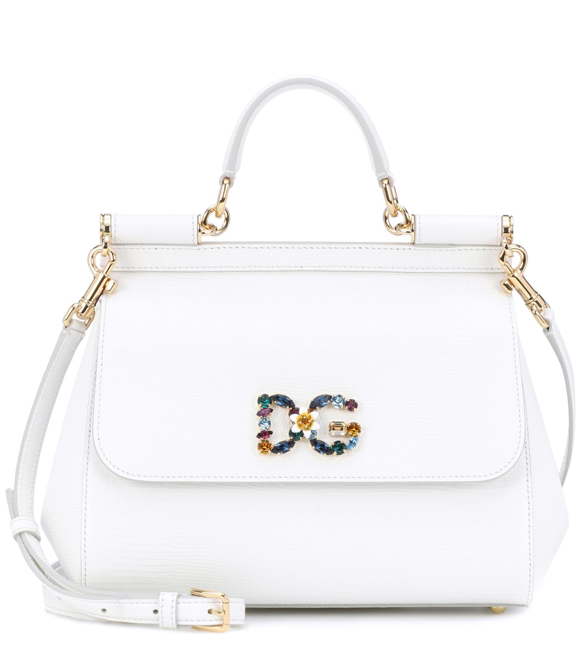 c5e2c6a17bff Dolce   Gabbana Sicily Medium Leather Shoulder Bag in White - Lyst