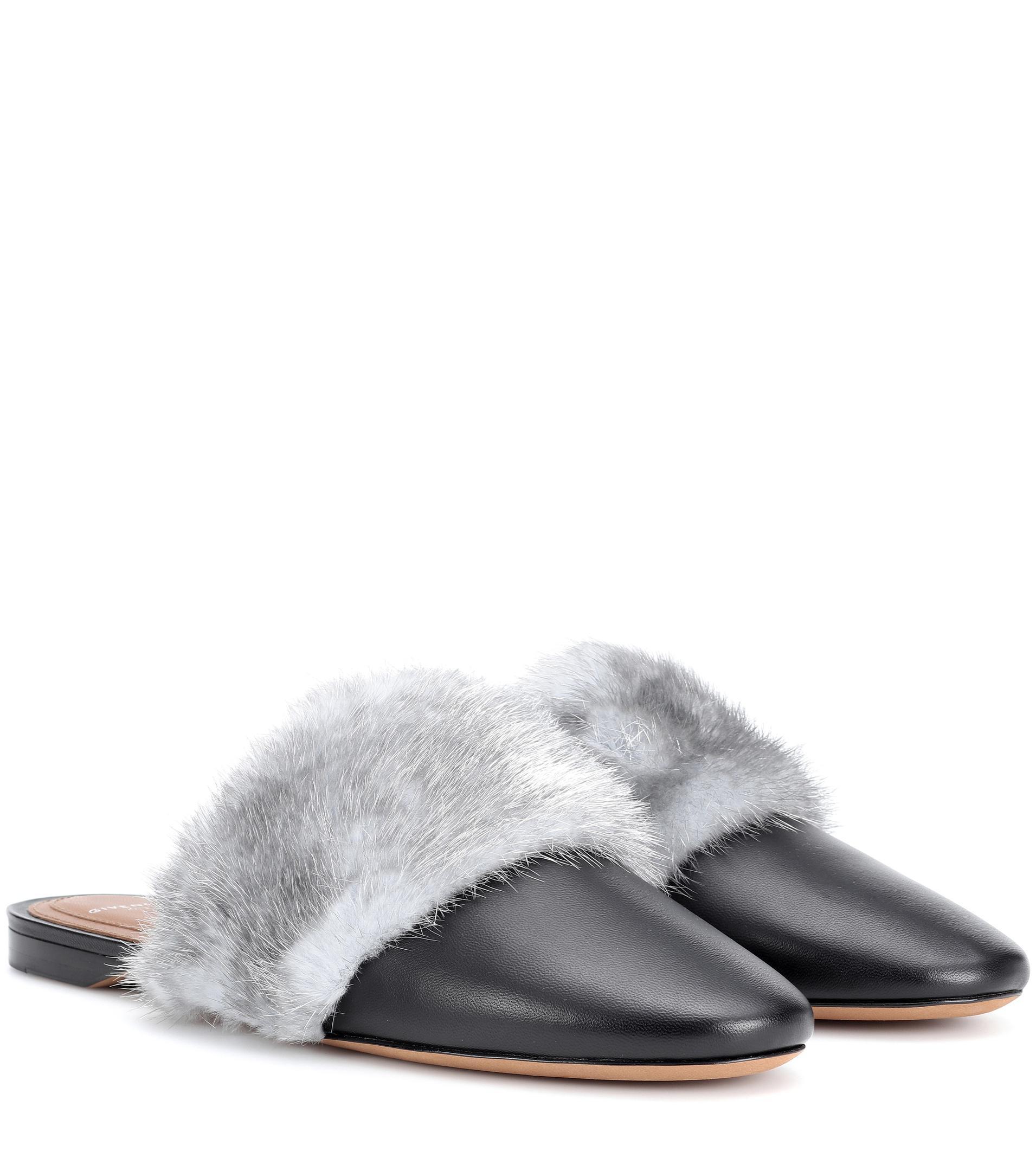 Bedford fur-trimmed leather slippers Givenchy WWzUTVBG4