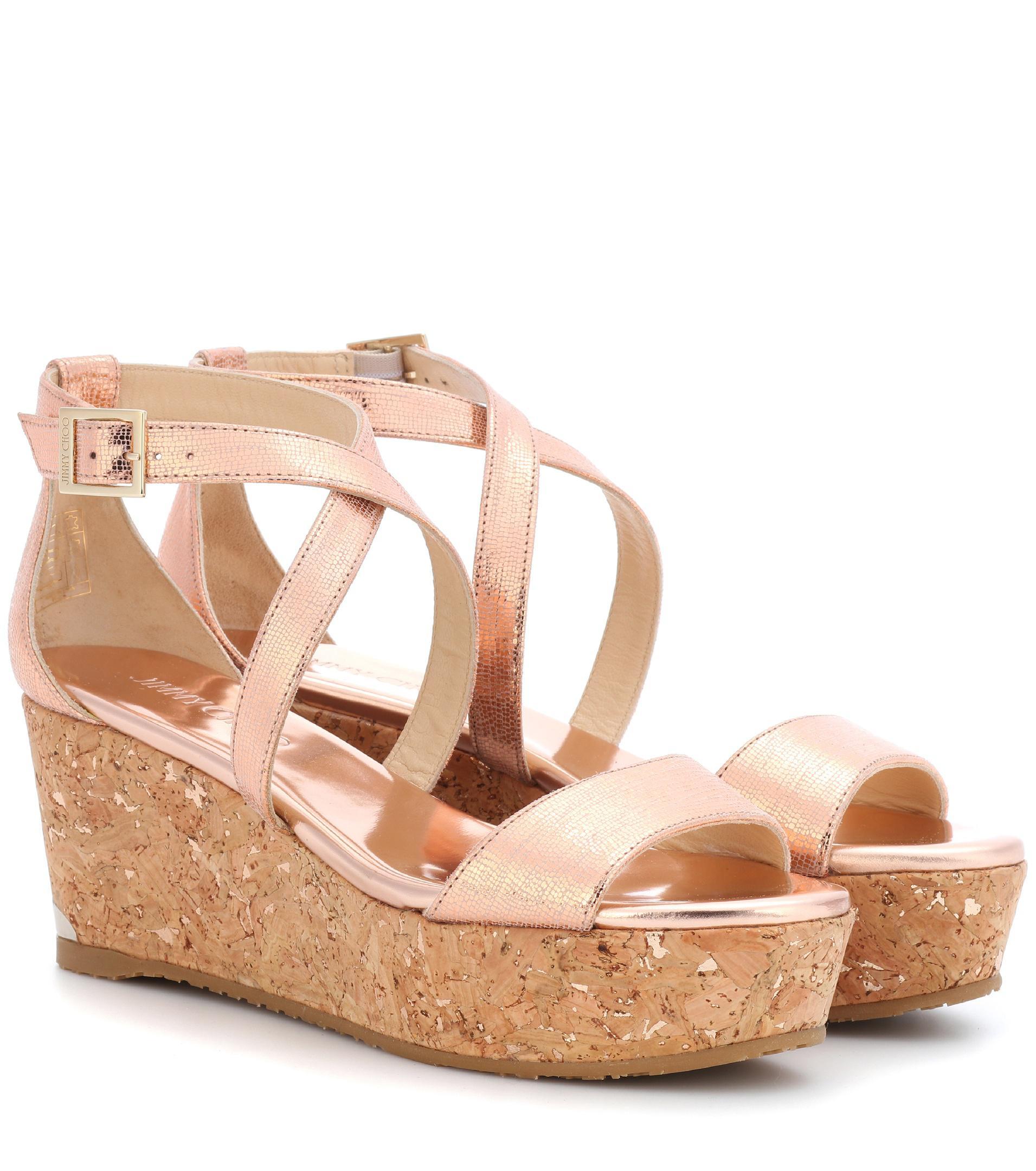 f51a10b3b50d Lyst - Jimmy Choo Portia 70 Metallic Leather Platform Sandals in Pink