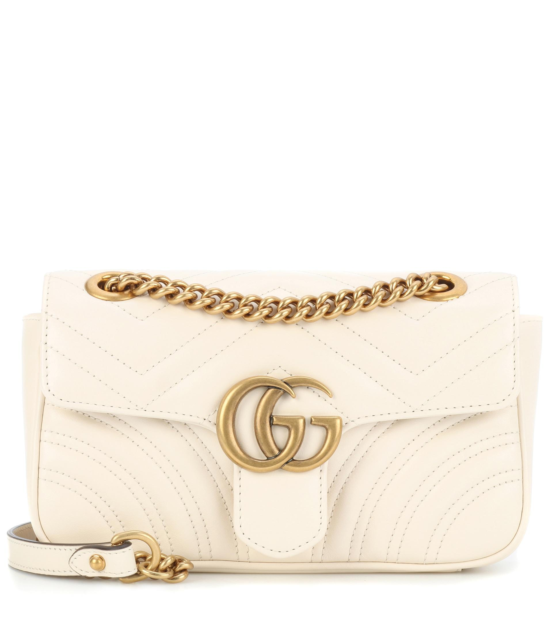 060f84a18c1 Gucci Gg Marmont Mini Leather Crossbody Bag in White - Lyst