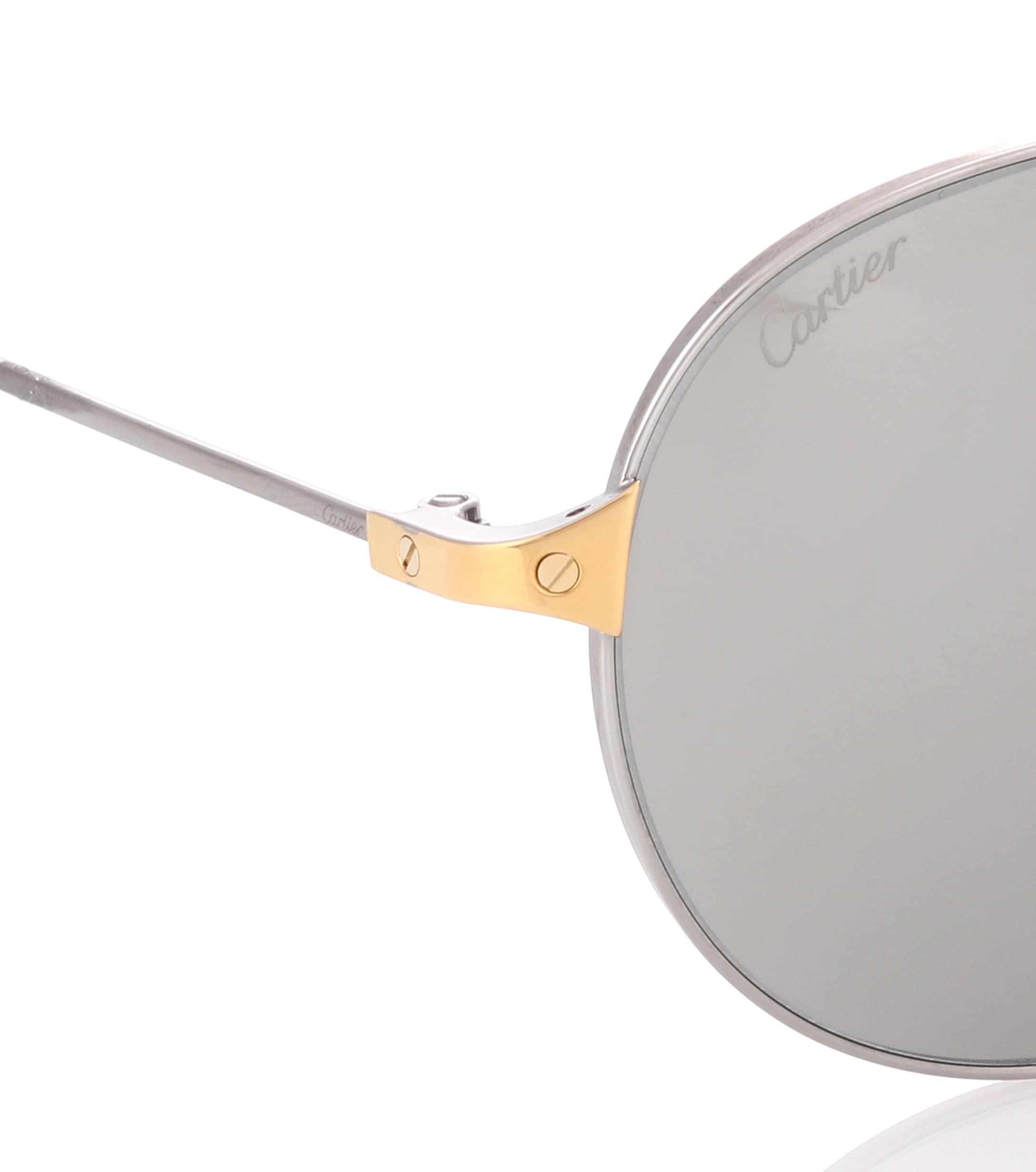 0589ff62d41f0 Cartier - Metallic Santos De Cartier Aviator Sunglasses - Lyst. View  fullscreen