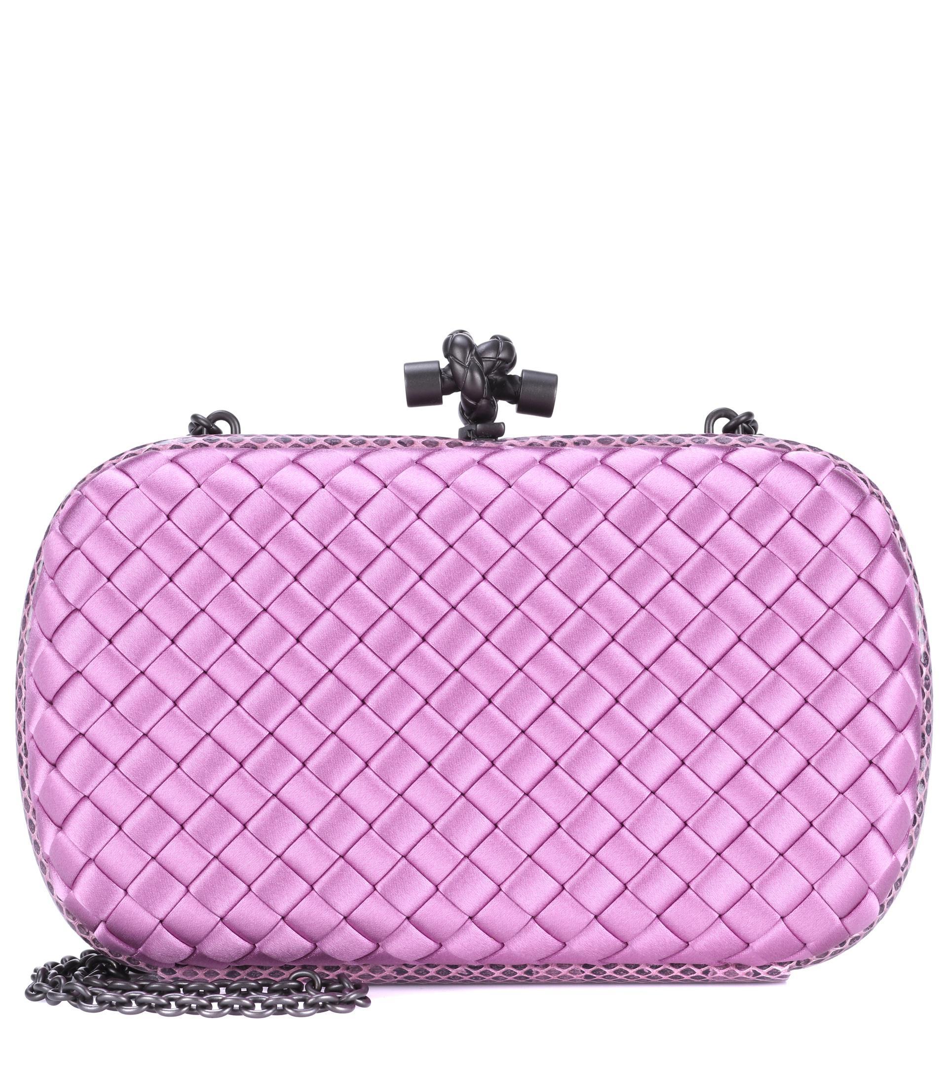 303feece6d4 Bottega Veneta Knot Snakeskin-trimmed Satin Clutch in Pink - Lyst