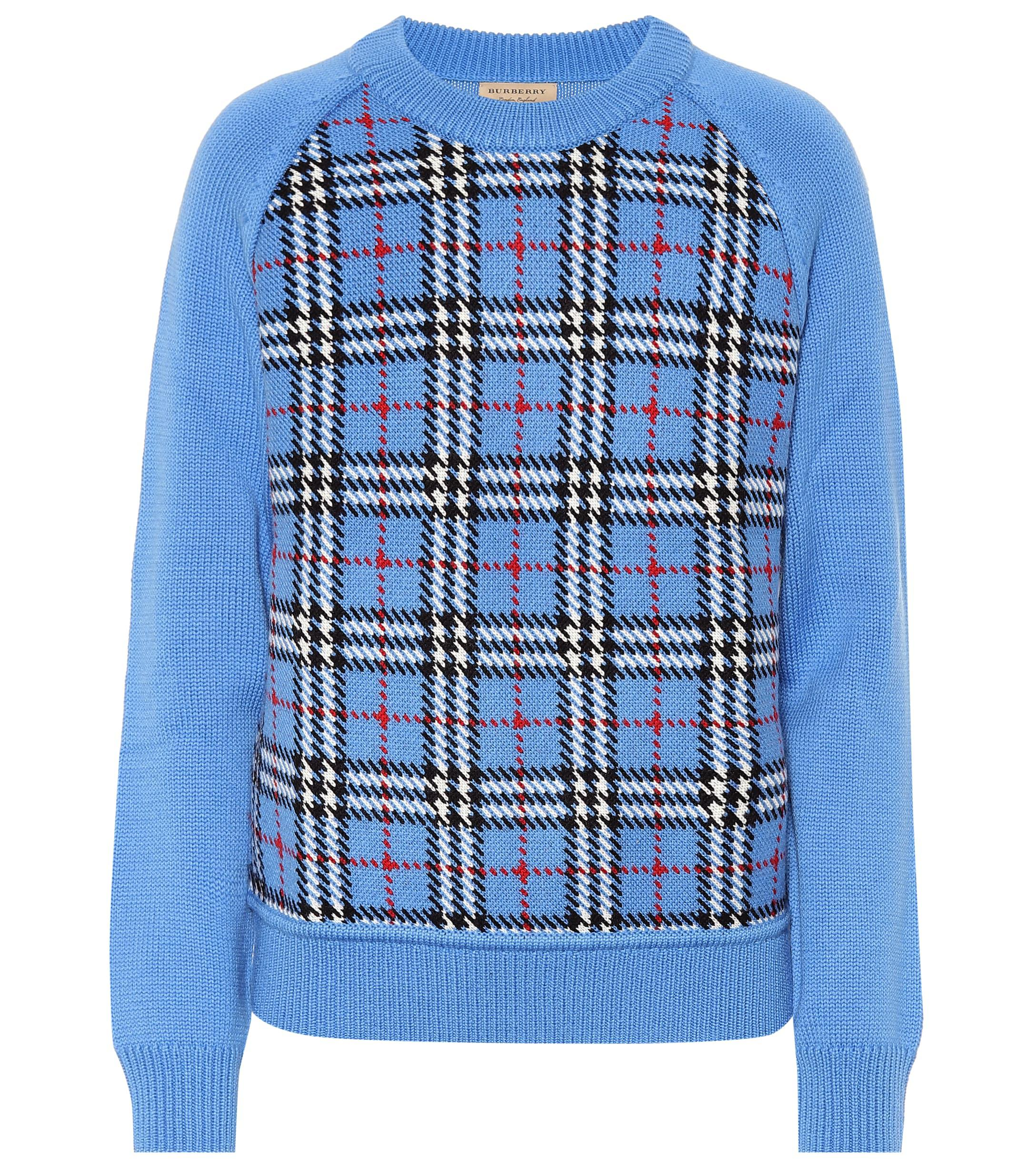 Jacquard Burberry Blue In Sweater Lyst Checked Wool 8wXnOPk0