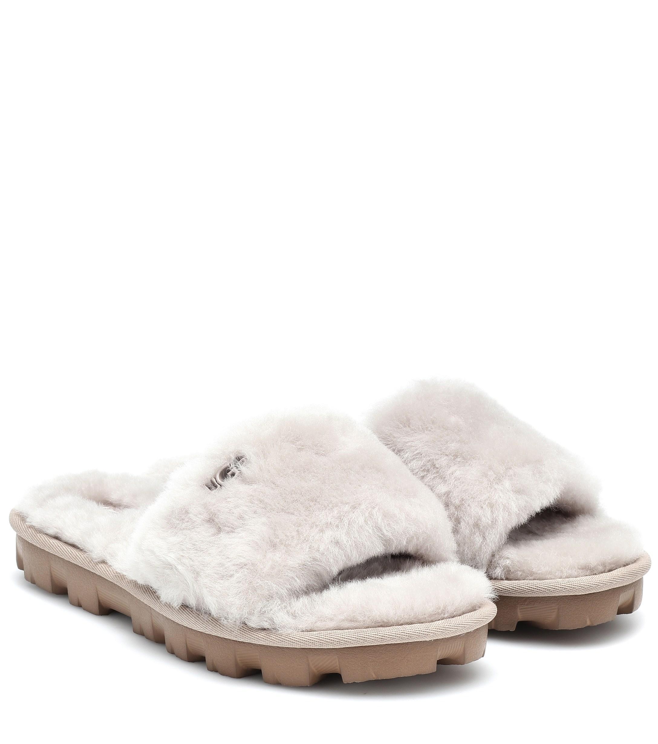 4103f3db504 UGG Cozette Fur Slides in Gray - Lyst