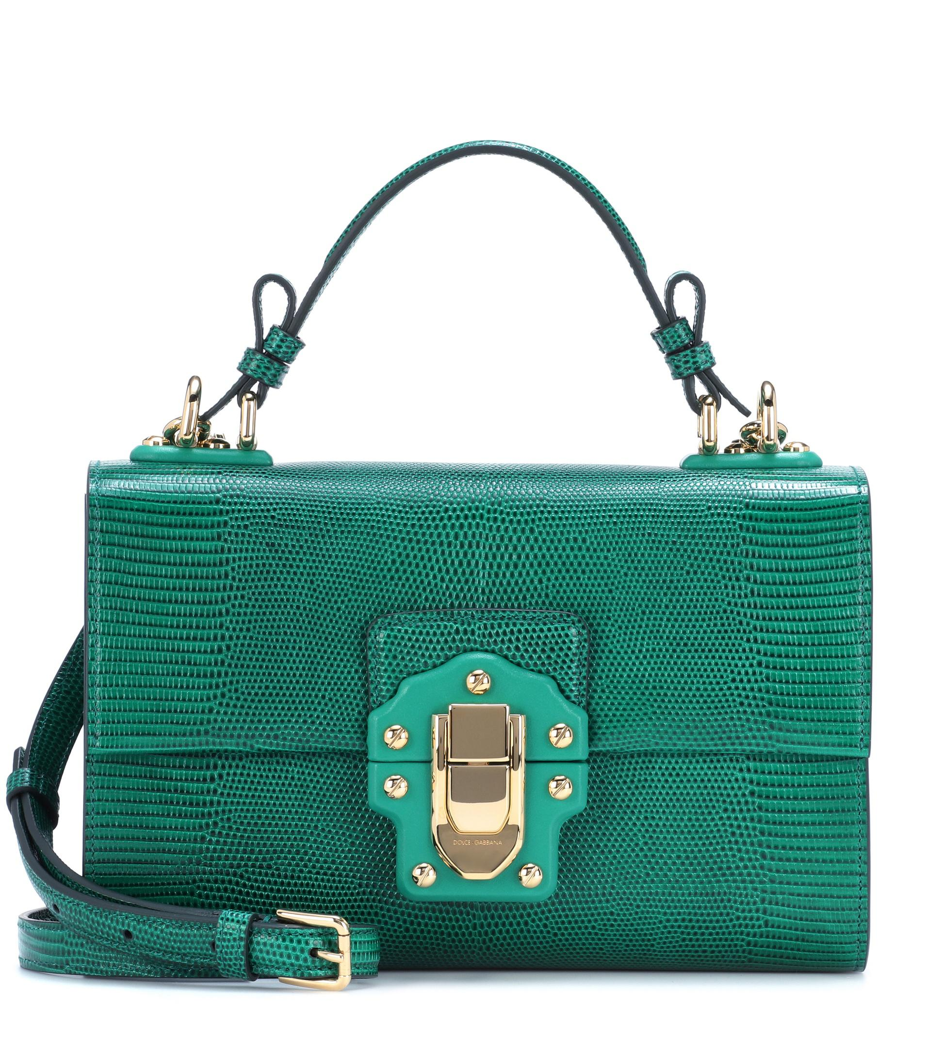 2cb4bde876bd Lyst - Dolce   Gabbana Lucia Embossed Leather Shoulder Bag in Green