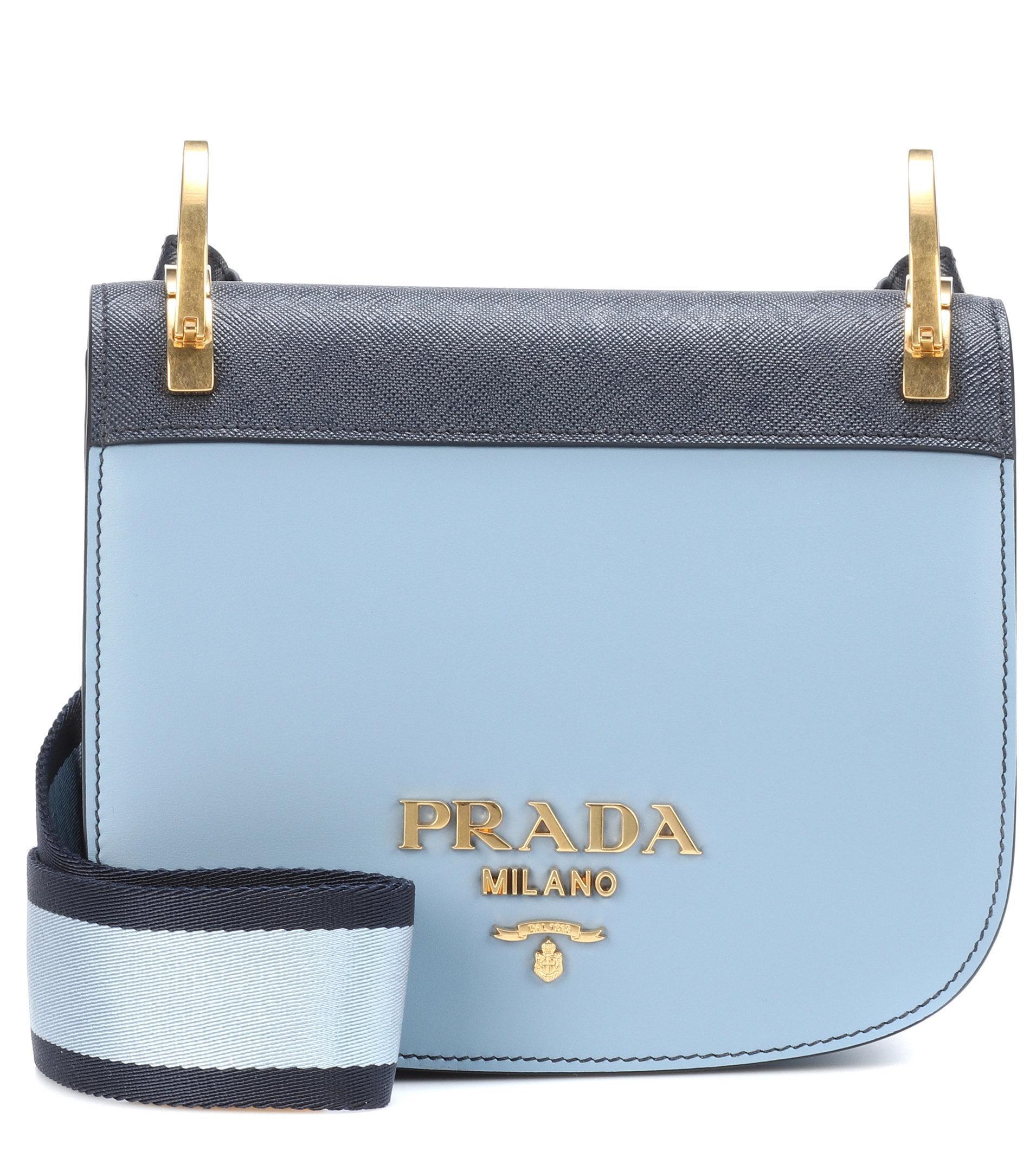 5d334189a75ae6 Prada Pionnière Leather Shoulder Bag in Blue - Lyst