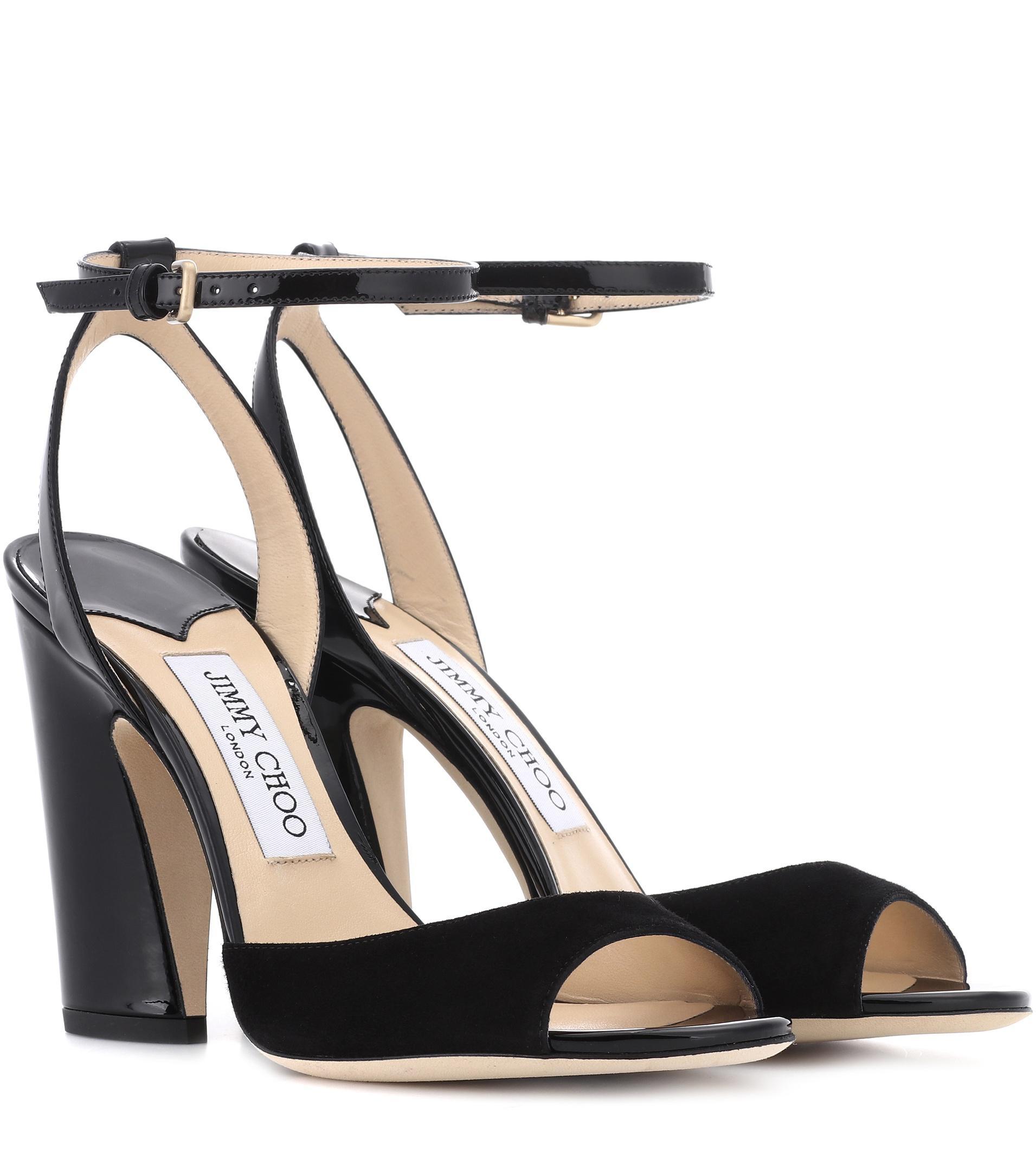 127175abb1e ... best price jimmy choo black miranda 100 suede sandals lyst. view  fullscreen 9b599 7a13a