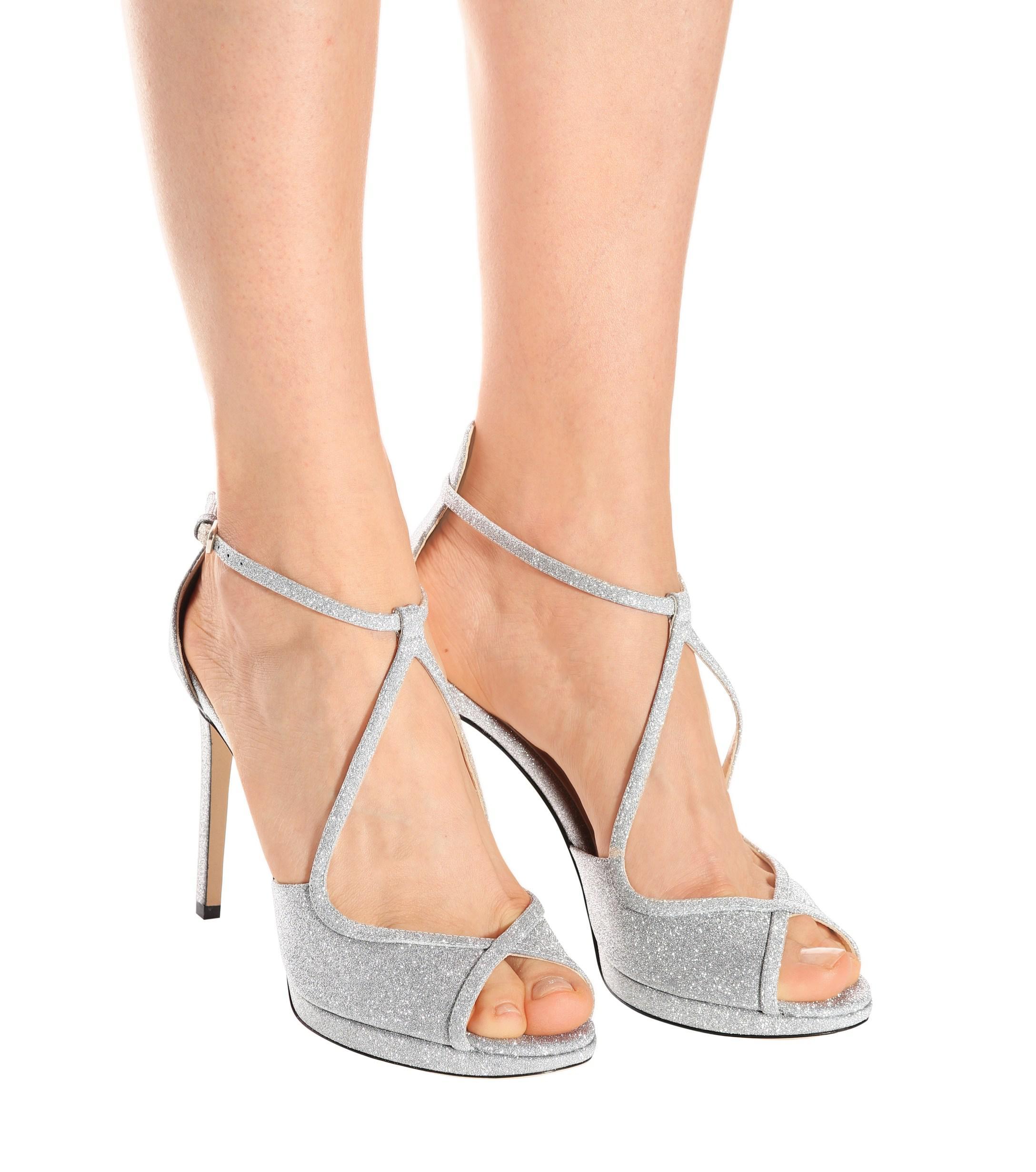 e48f868f557 Jimmy Choo - Metallic Fawne 100 Glitter Sandals - Lyst. View fullscreen