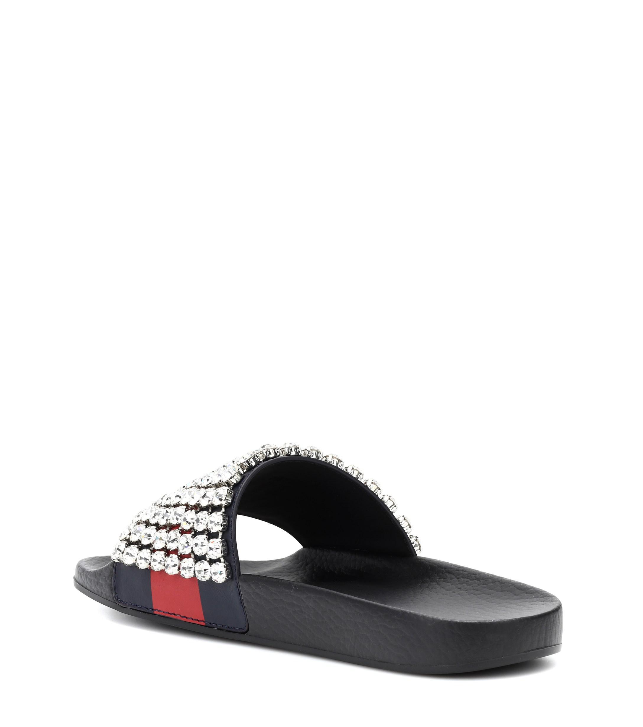 428e8b739257 Lyst - Gucci Crystal-embellished Slides in Black
