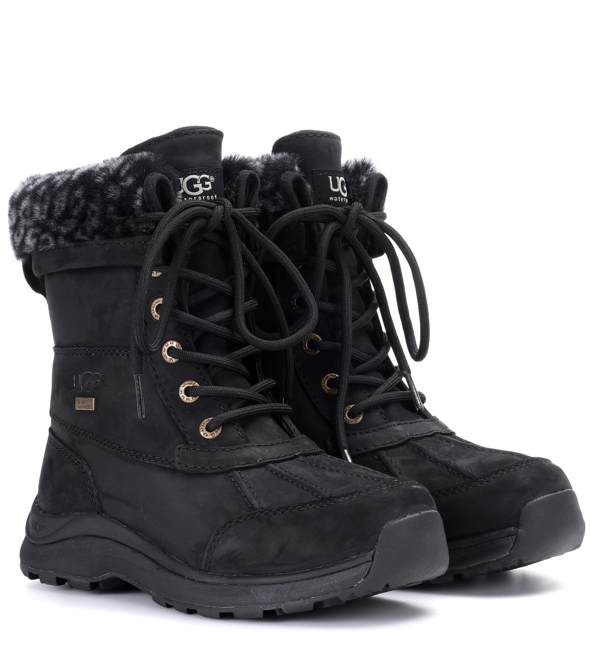 Lyst Ugg Adirondack Iii Fur Trimmed Leather Boots In Black